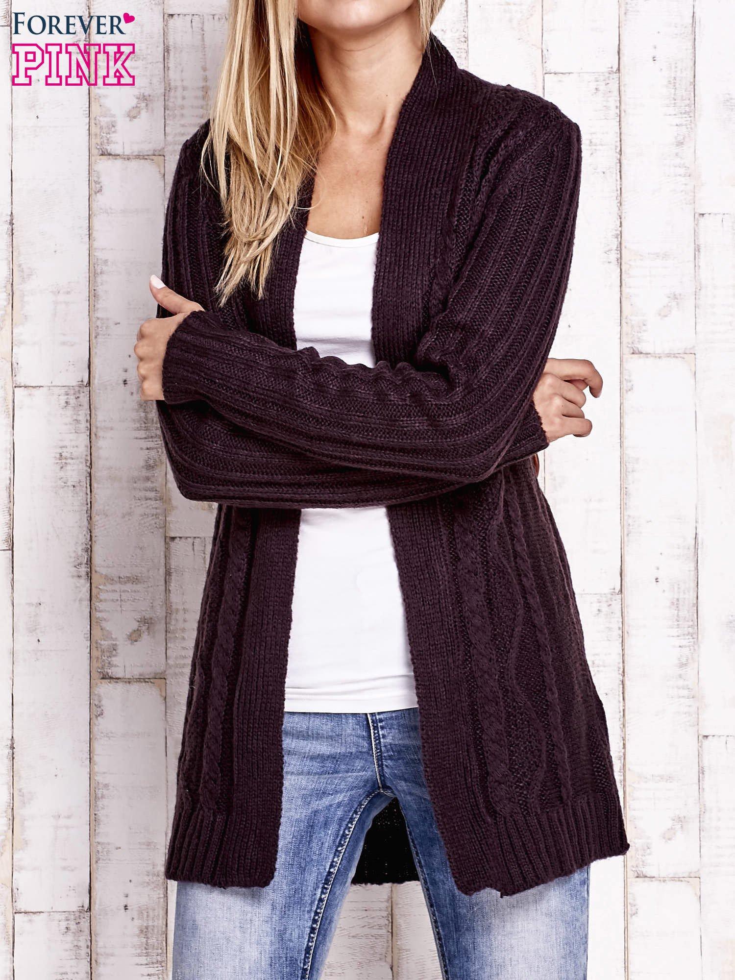 Ciemnofioletowy dzianinowy sweter z wiązaniem                                  zdj.                                  5