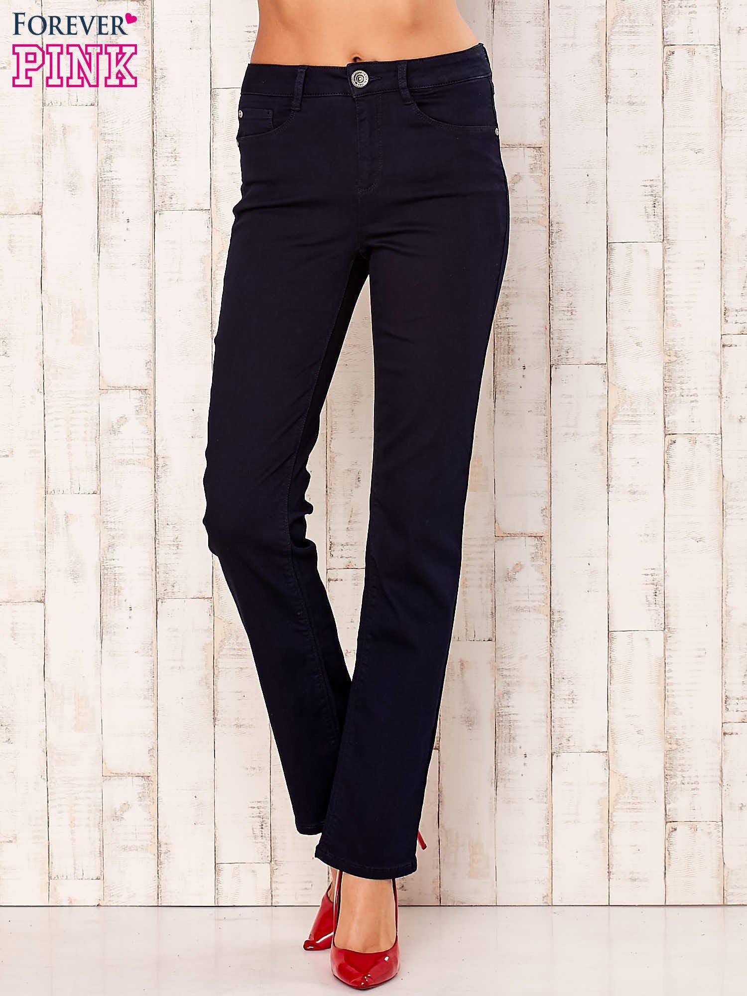 Ciemnogranatowe spodnie z prostą nogawką                                  zdj.                                  1