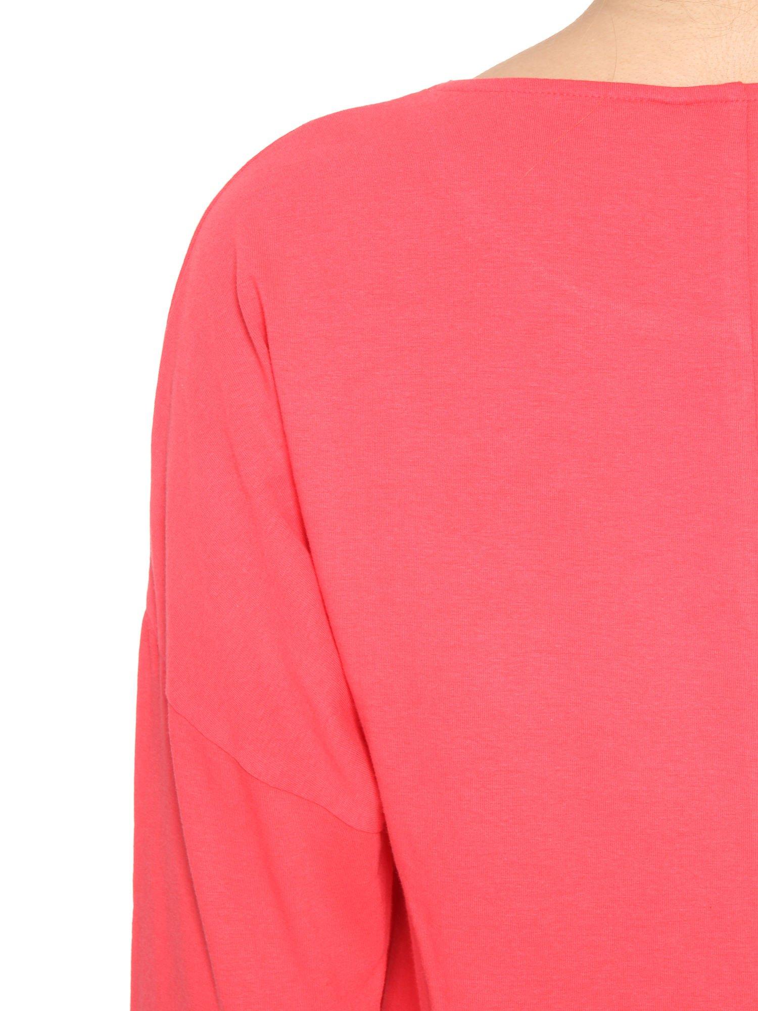 Ciemnokoralowa sukienka dresowa z kieszeniami                                  zdj.                                  11