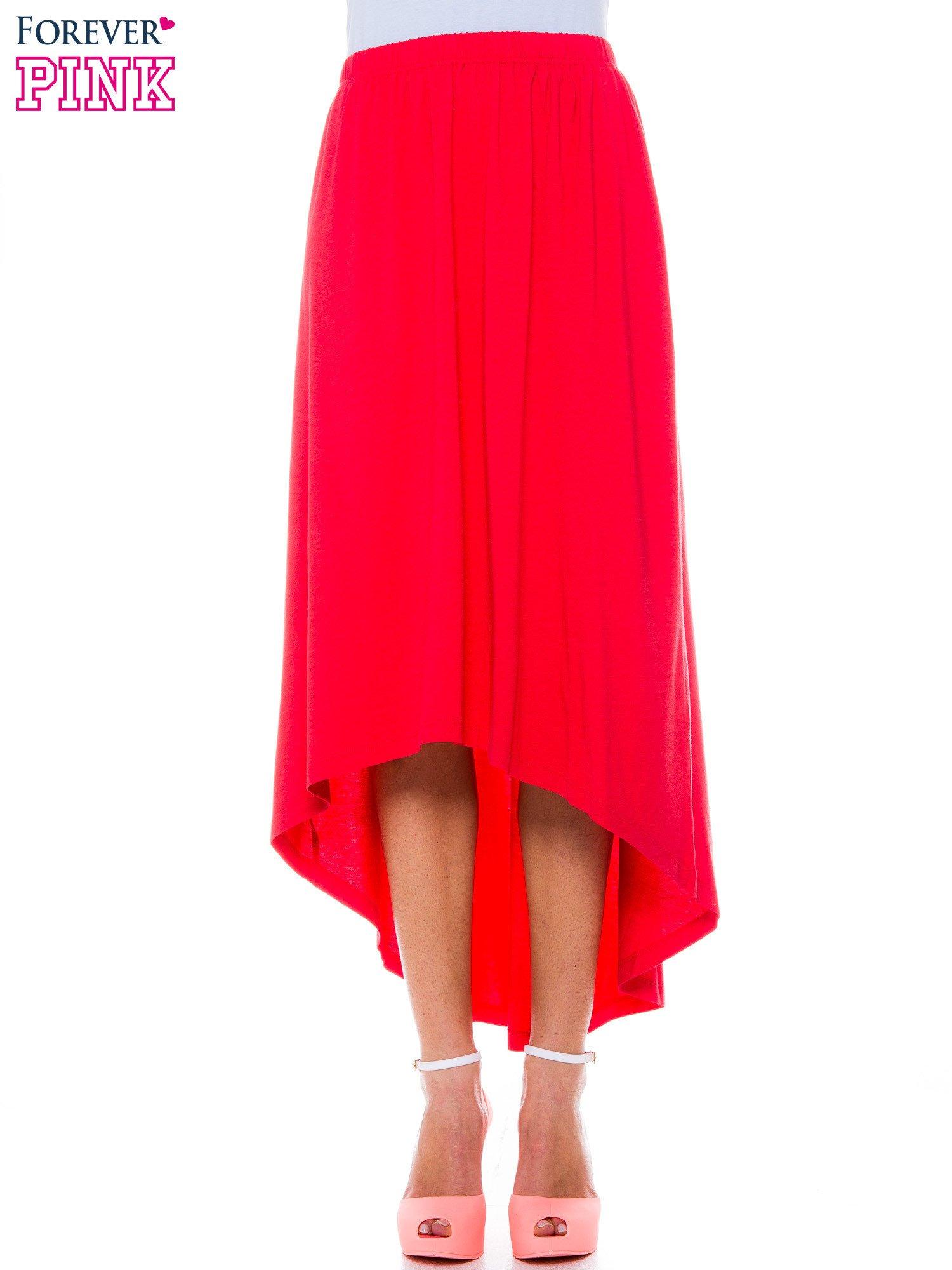 Ciemnokoralowa zwiewna spódnica z dłuższym tyłem                                  zdj.                                  1