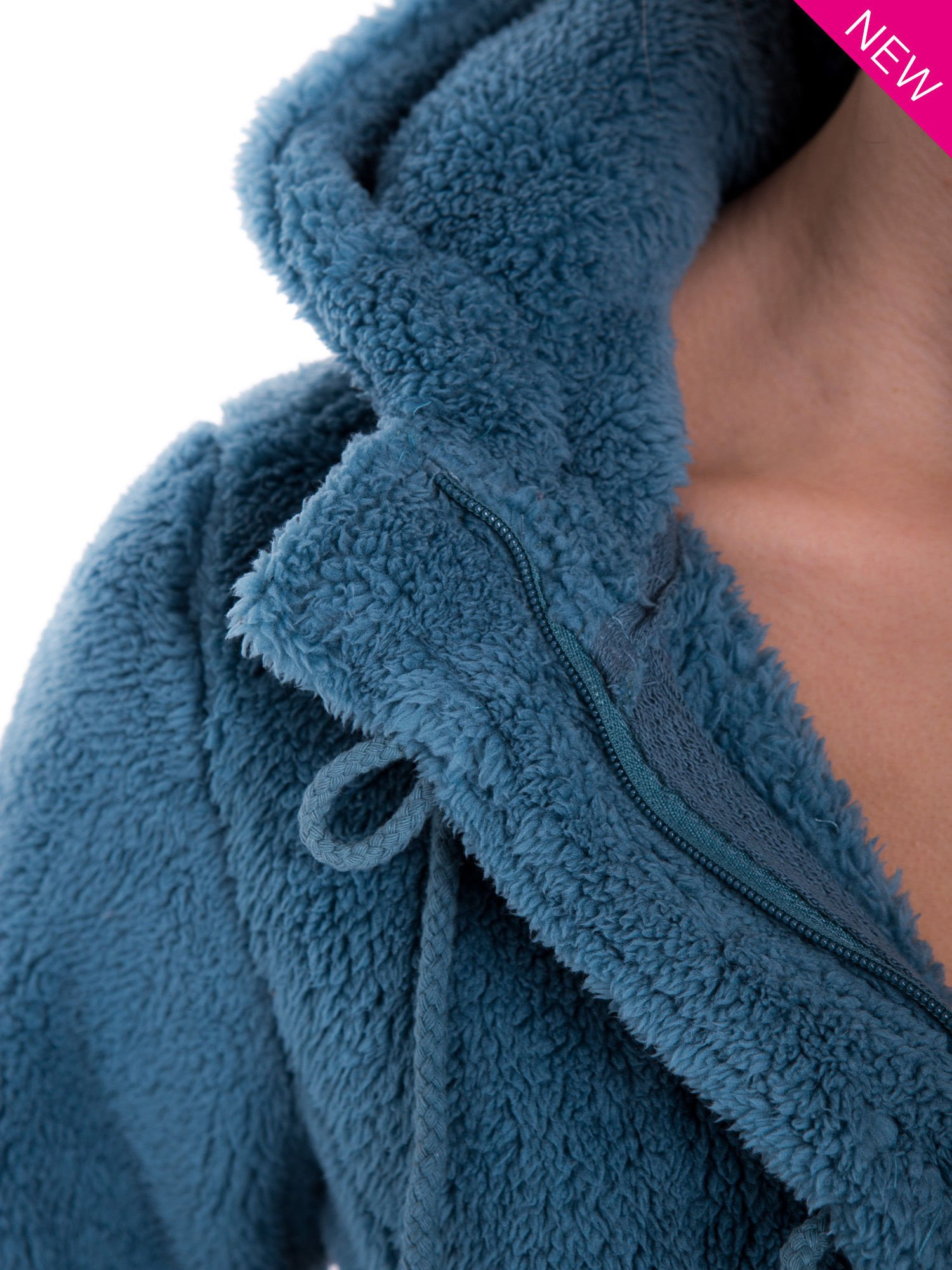 Ciemnoniebieska bluza futerkowa z kapturem i rękawami z otworem na kciuk                                  zdj.                                  9