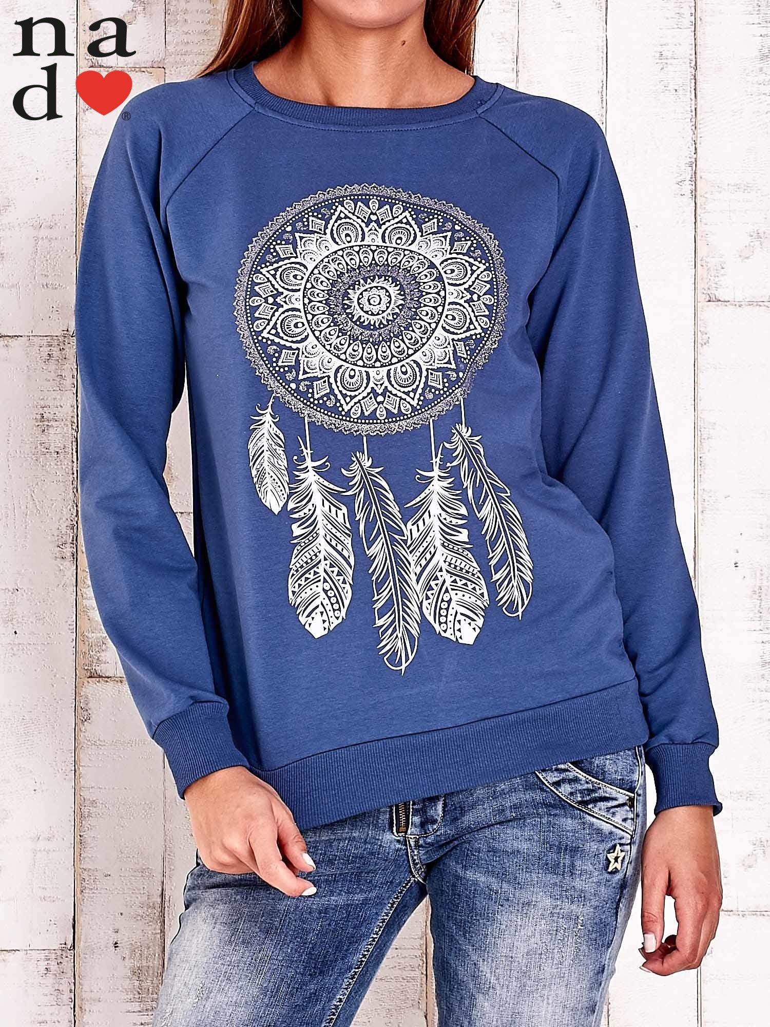 Ciemnoniebieska bluza z łapaczem snów                                  zdj.                                  1