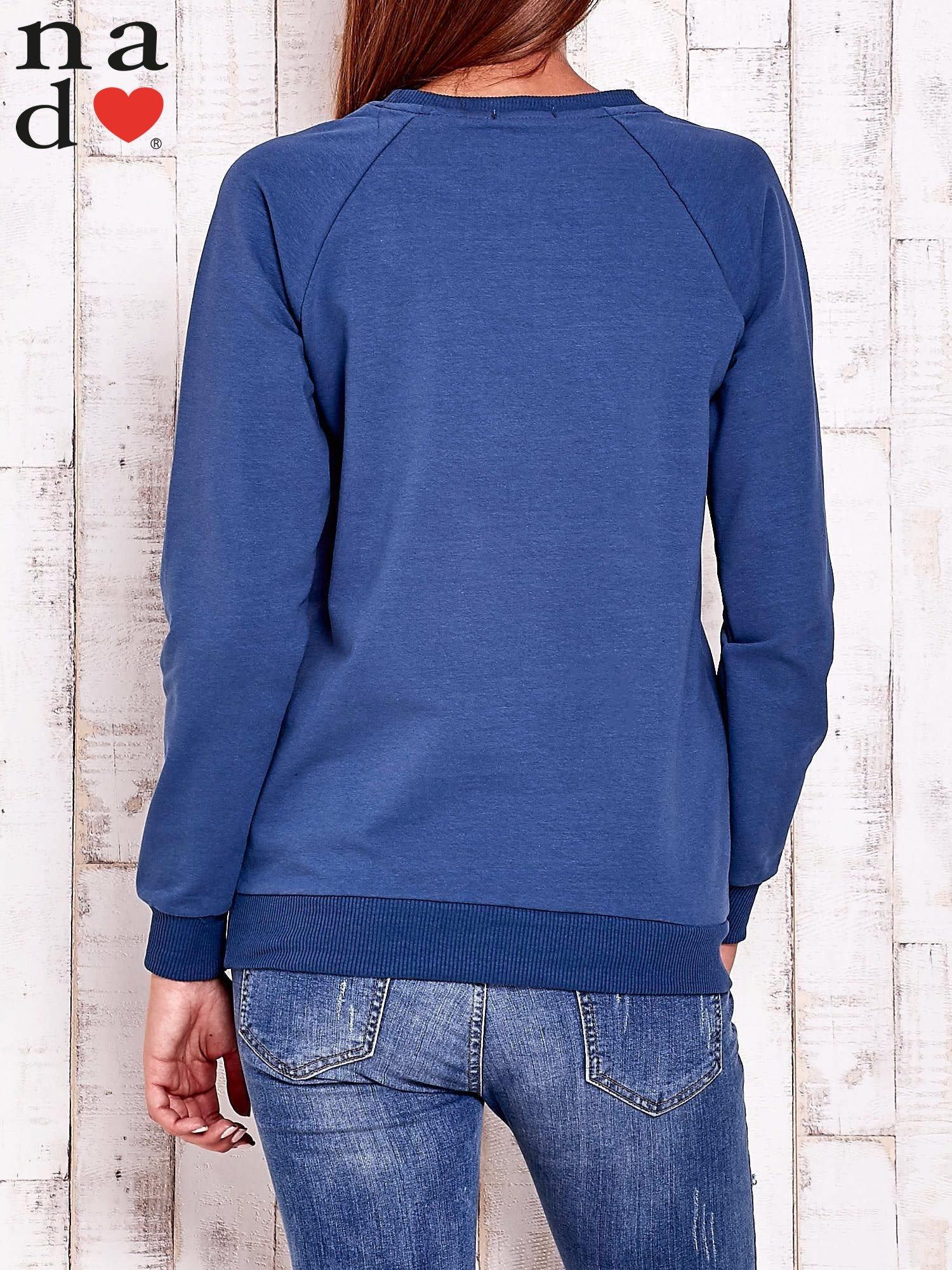 Ciemnoniebieska bluza z napisem AWESOME                                  zdj.                                  4