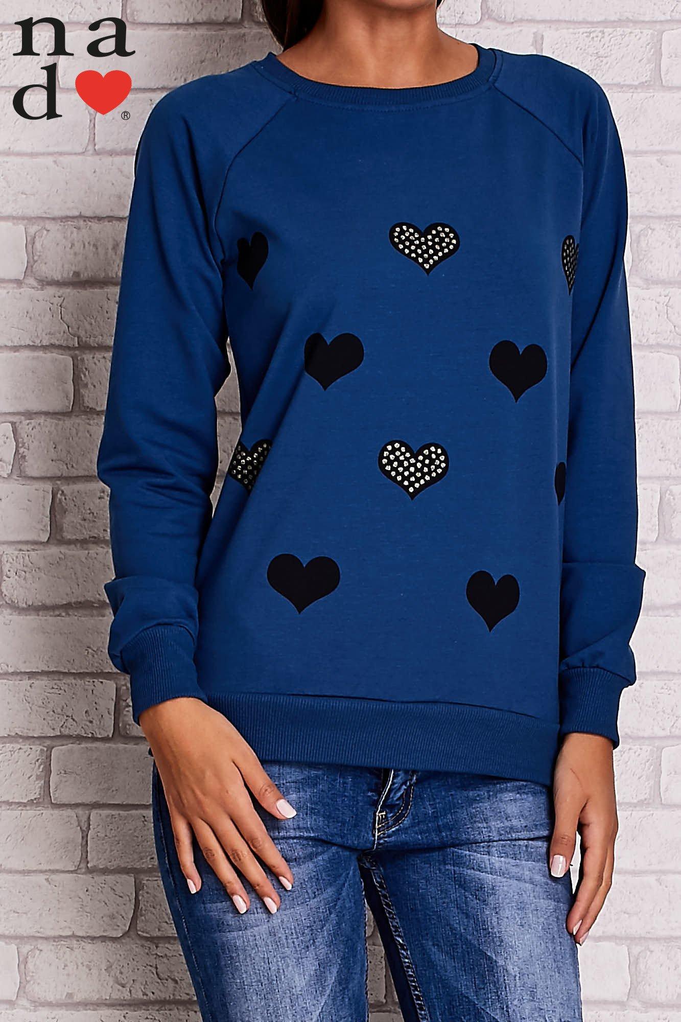 Ciemnoniebieska bluza z serduszkami                                  zdj.                                  1