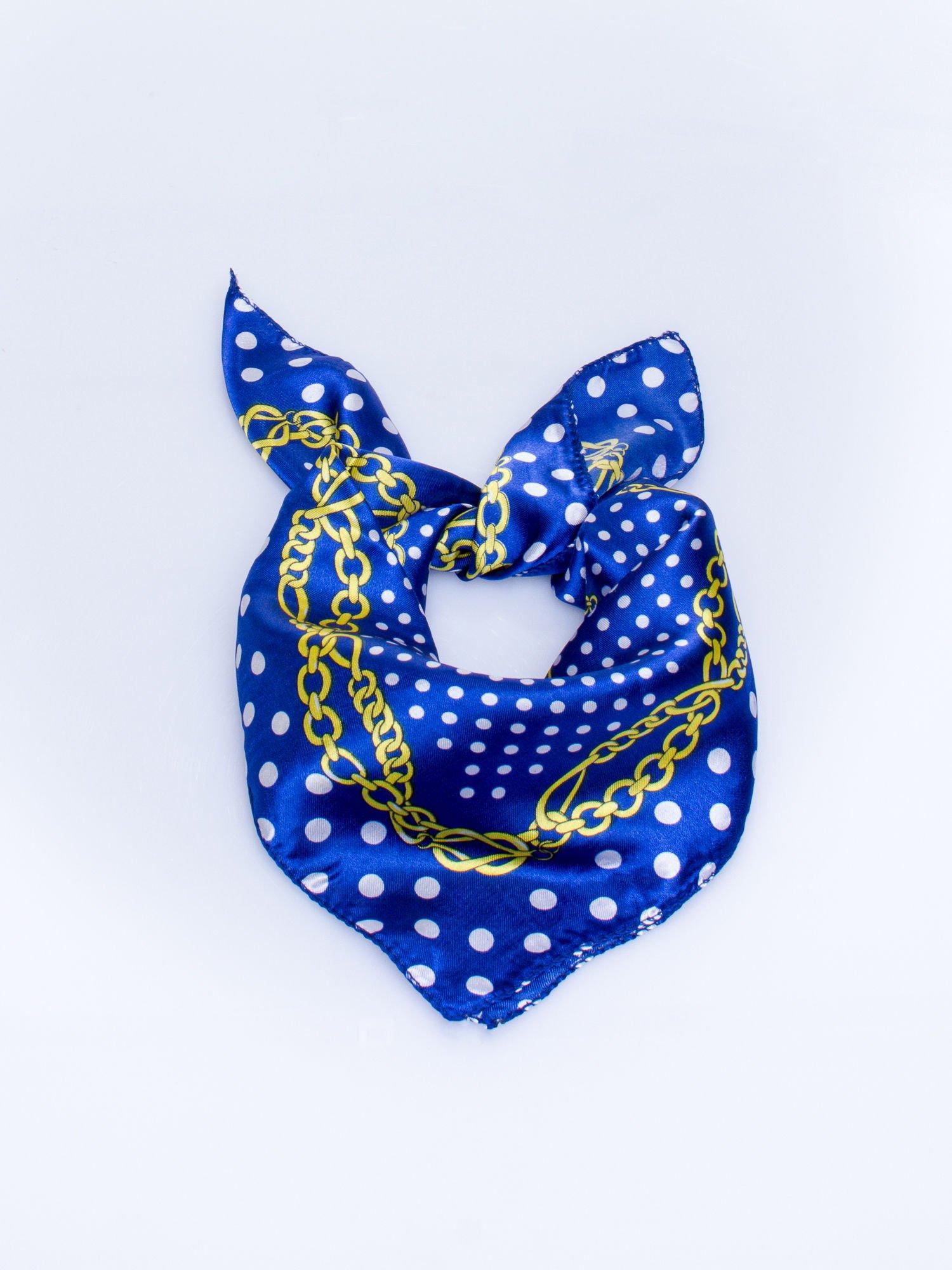 Ciemnoniebieska chusta apaszka w grochy                                  zdj.                                  1