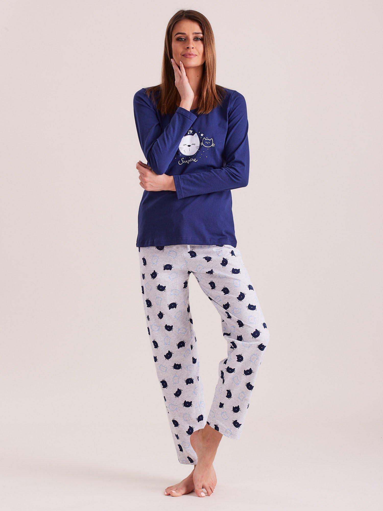 4c01773448a4e1 Ciemnoniebieska dwuczęściowa piżama w koty - Bielizna piżama - sklep  eButik.pl
