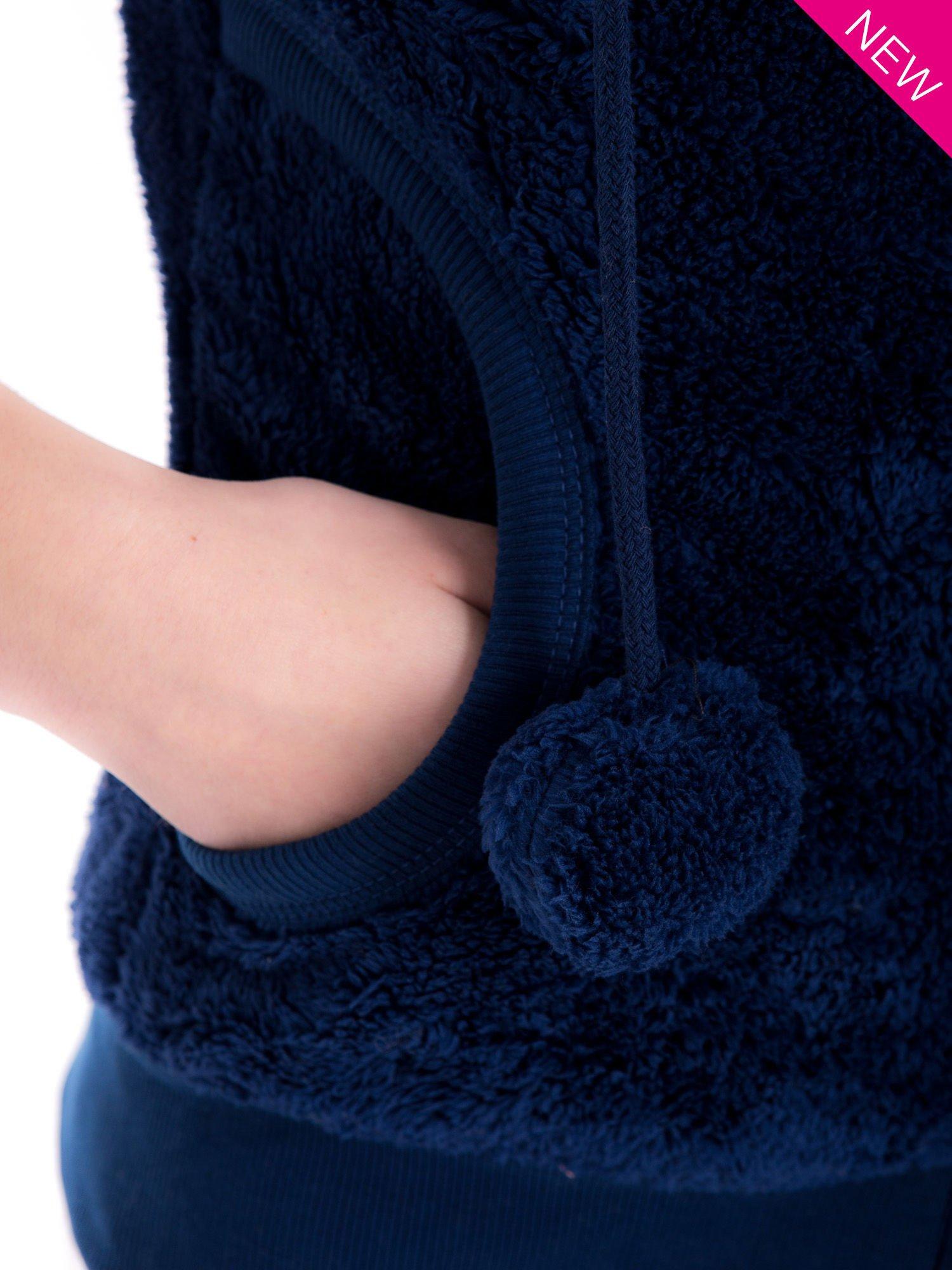 Ciemnoniebieska kamizelka z kapturem z uszkami i pomponami                                  zdj.                                  8