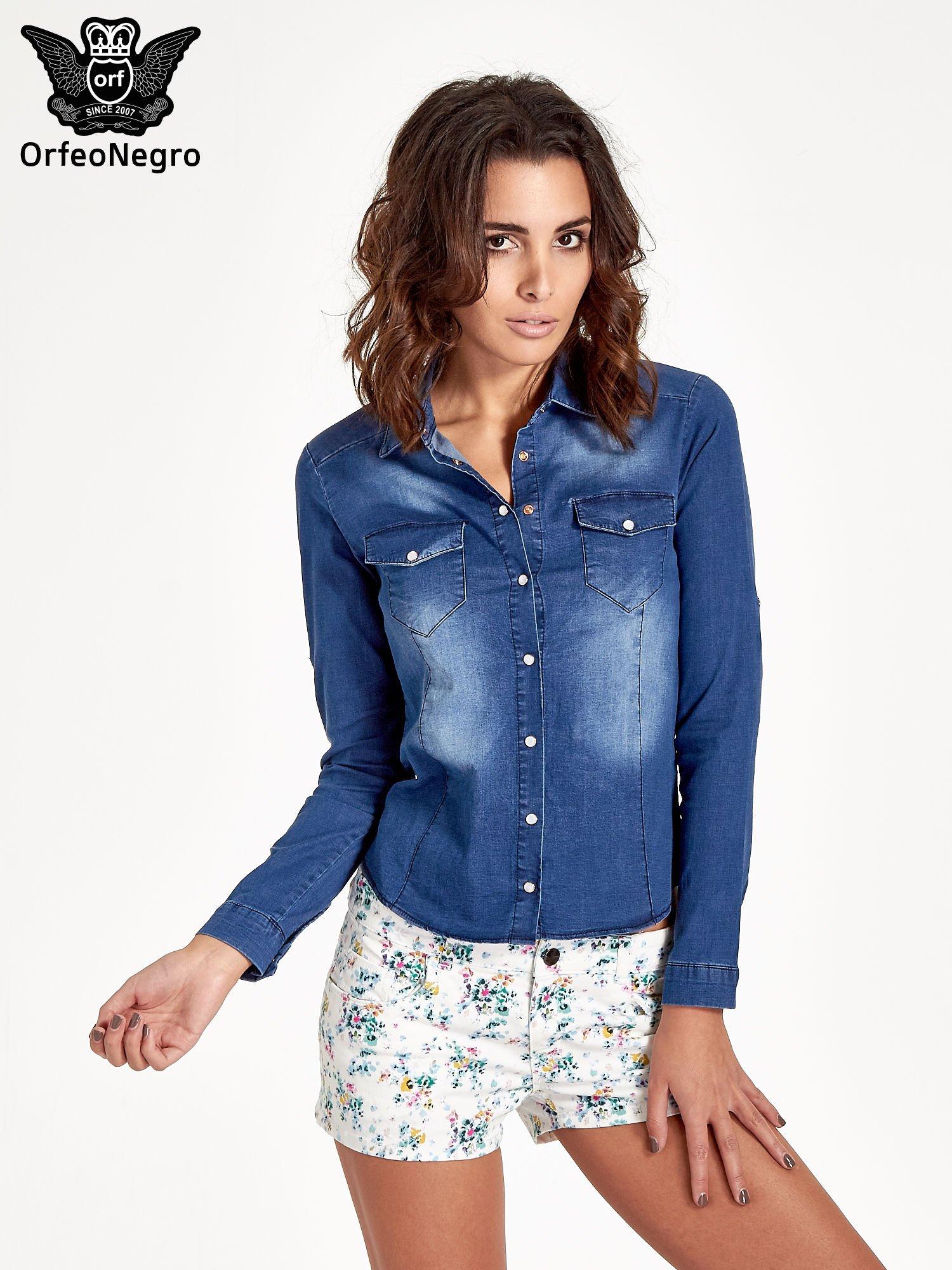 Ciemnoniebieska koszula jeansowa z cieniowaniem                                  zdj.                                  1