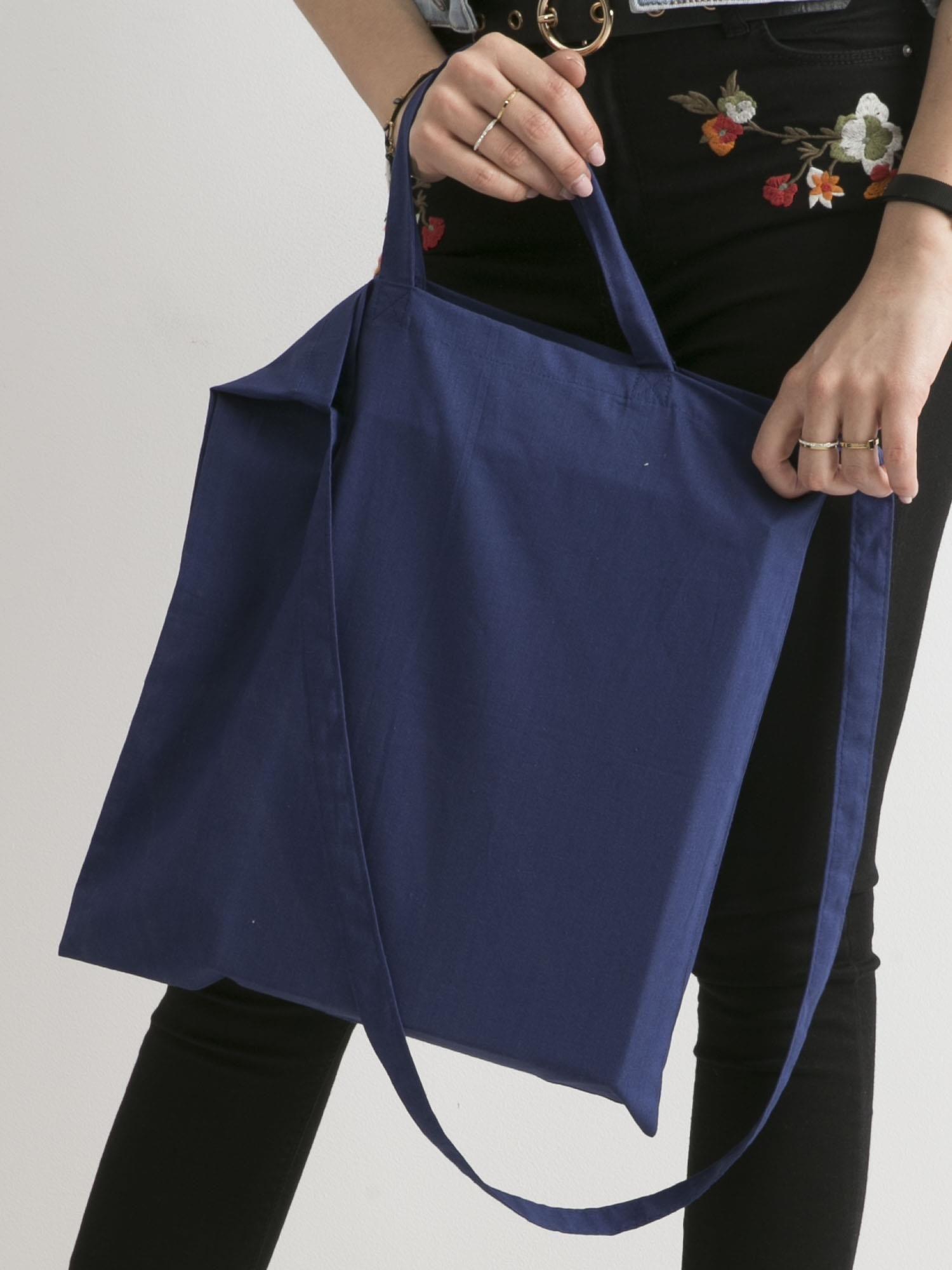 0adb6e021925c Ciemnoniebieska torba bawełniana z nadrukiem kota - Akcesoria torba ...