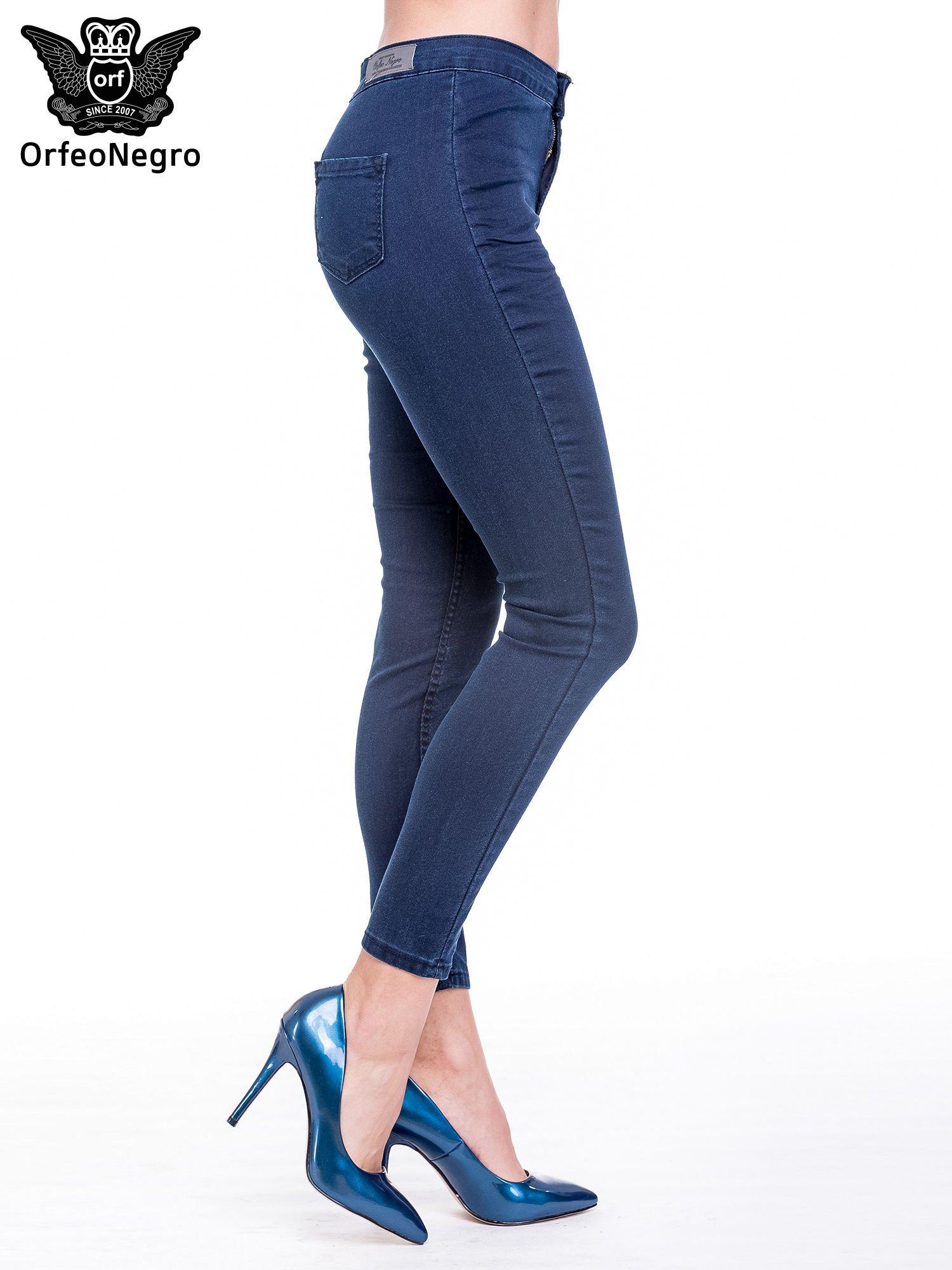 Ciemnoniebieskie spodnie skinny jeans z wysokim stanem                                  zdj.                                  3