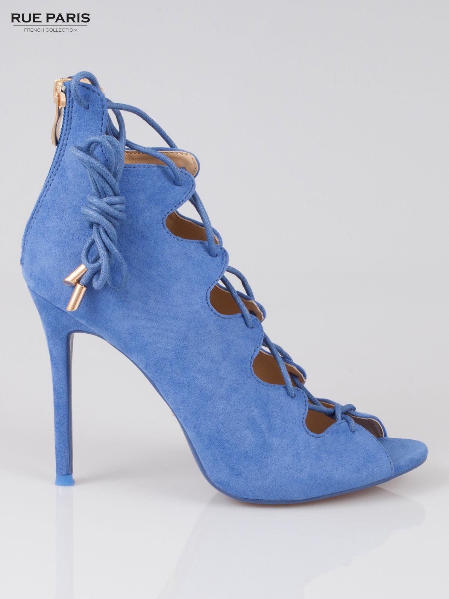 Ciemnoniebieskie wiązane szpilki lace up z zamkiem Lauren                                  zdj.                                  1