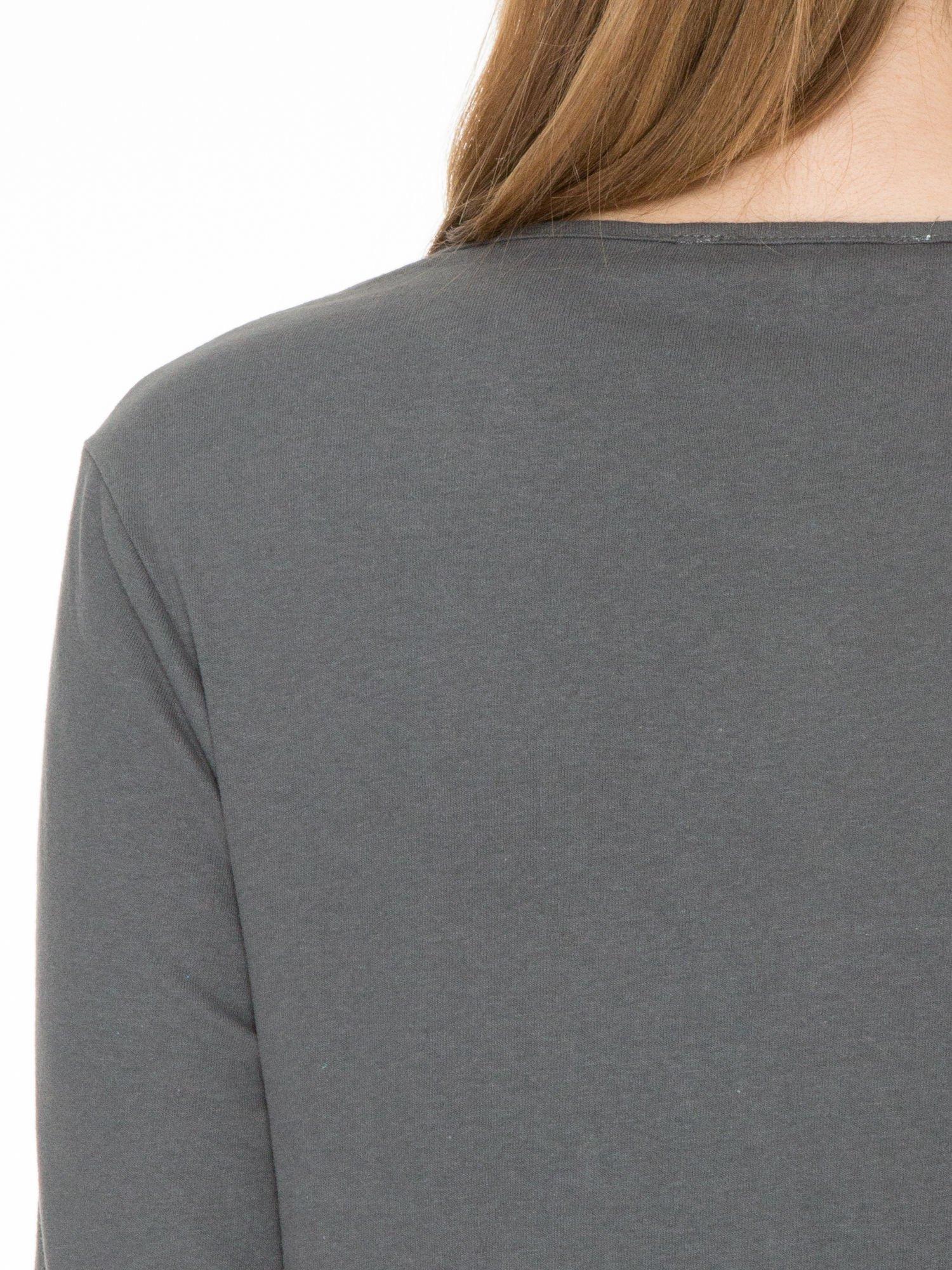 Ciemnoszara bawełniana bluzka z gumką na dole                                  zdj.                                  5