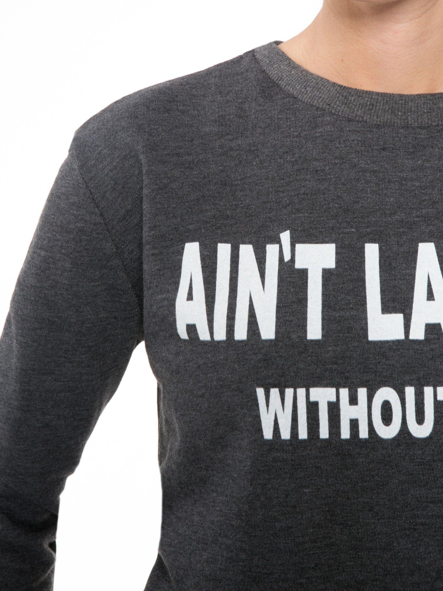 Ciemnoszara bluza z narukiem AIN'T LAURENT WITHOUT YVES                                  zdj.                                  5