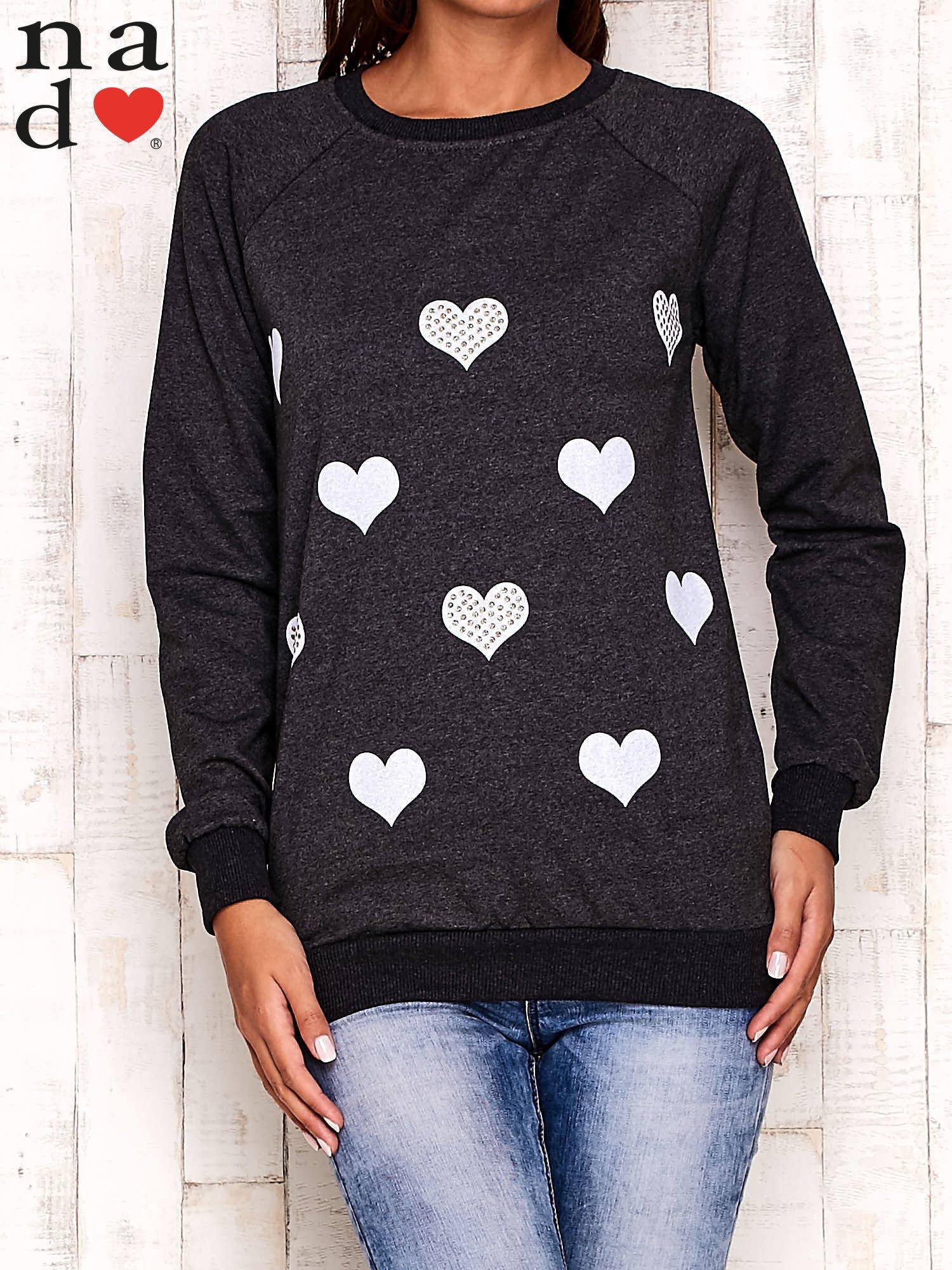 Ciemnoszara bluza z serduszkami                                  zdj.                                  1