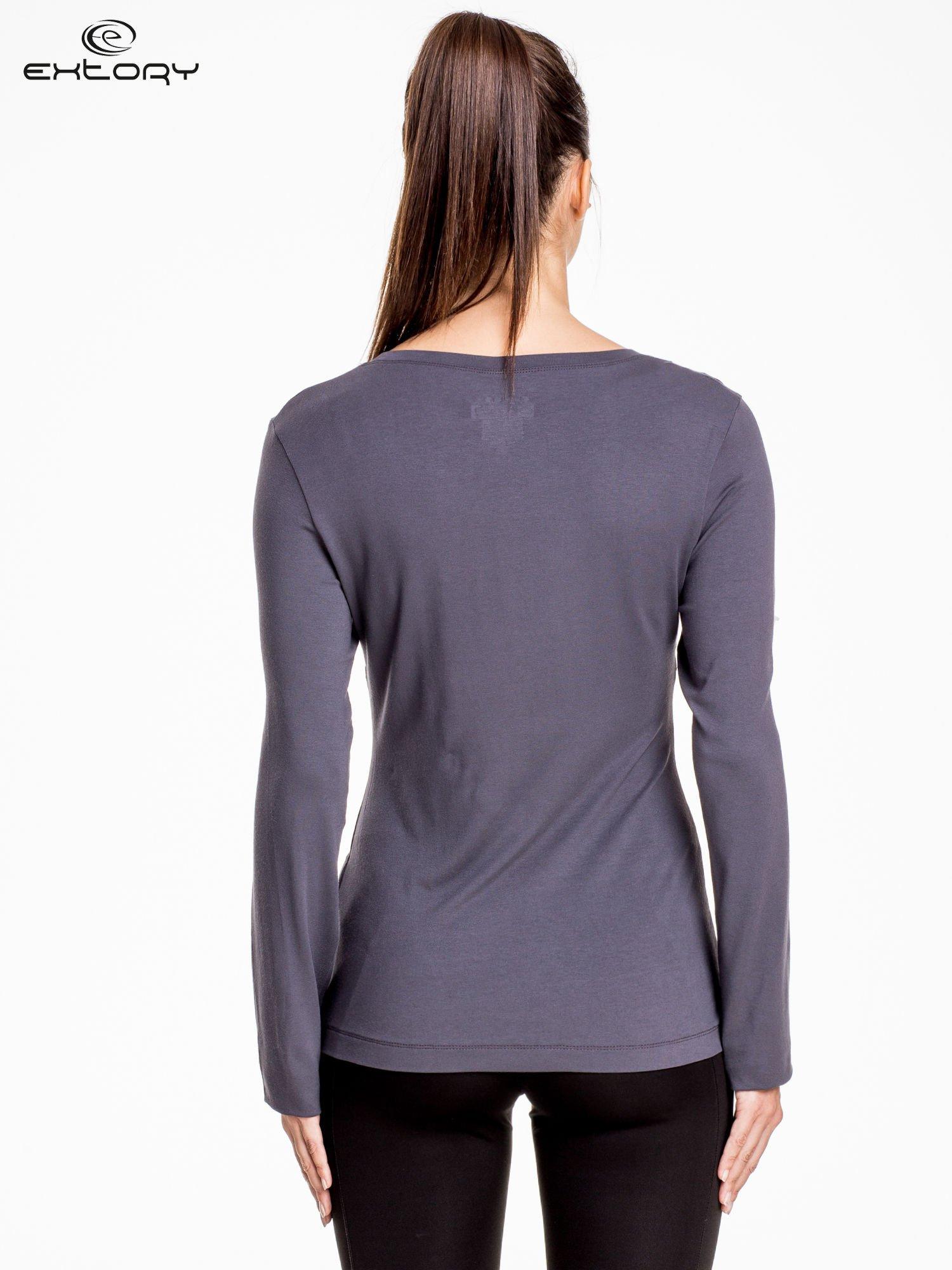 Ciemnoszara bluzka sportowa z dekoltem U                                  zdj.                                  4