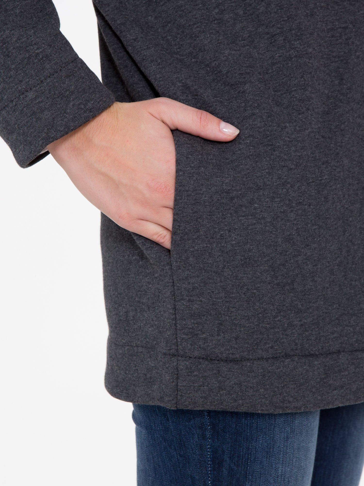 Ciemnoszara otwarta bluza dresowa                                  zdj.                                  7