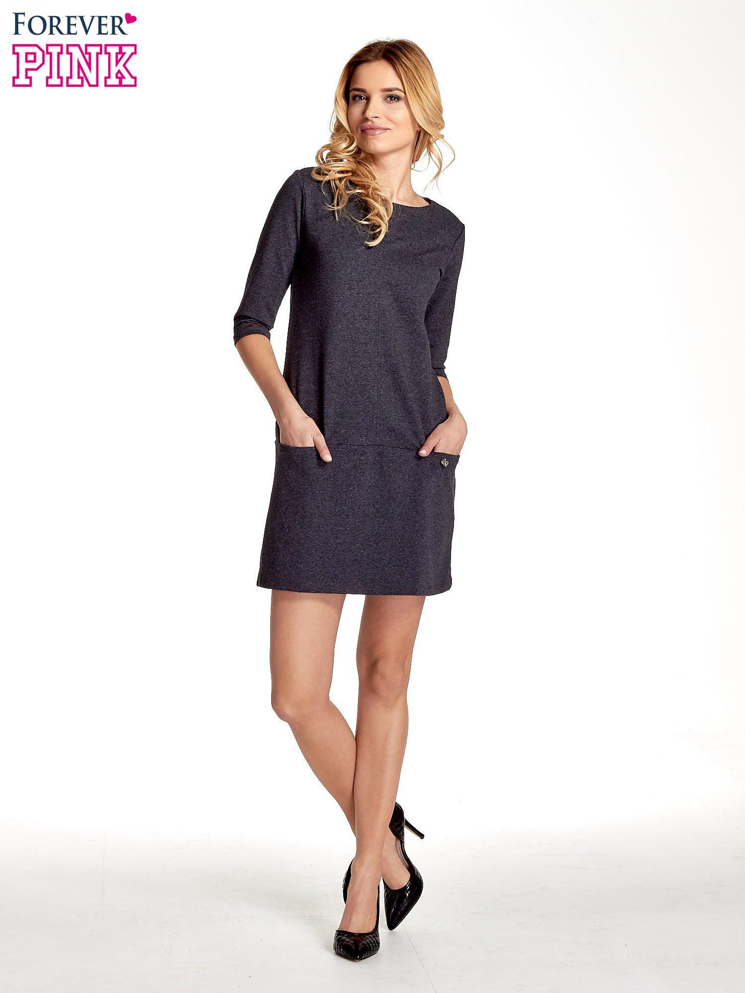 Ciemnoszara  prosta sukienka z kieszeniami                                   zdj.                                  7