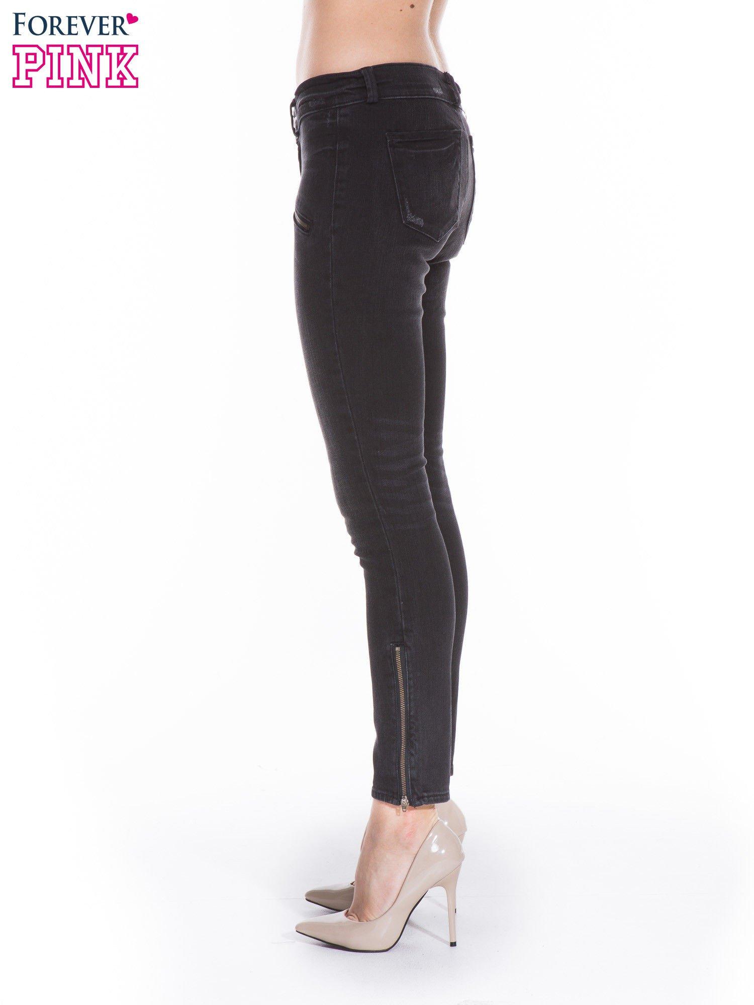 Ciemnoszare spodnie jeansowe typu skinny z suwakami na górze i przy nogawkach                                  zdj.                                  3