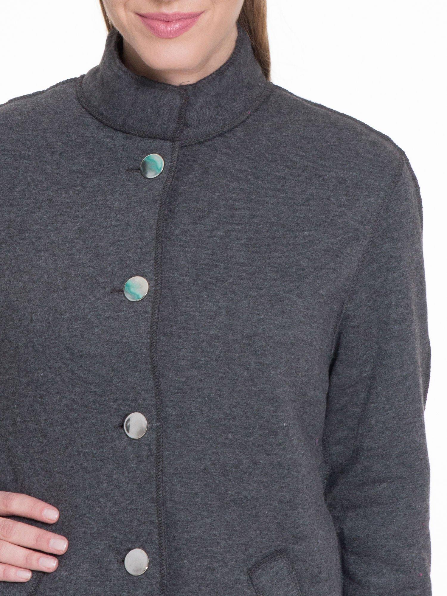 Ciemnoszary dresowy płaszcz o kroju oversize                                  zdj.                                  4