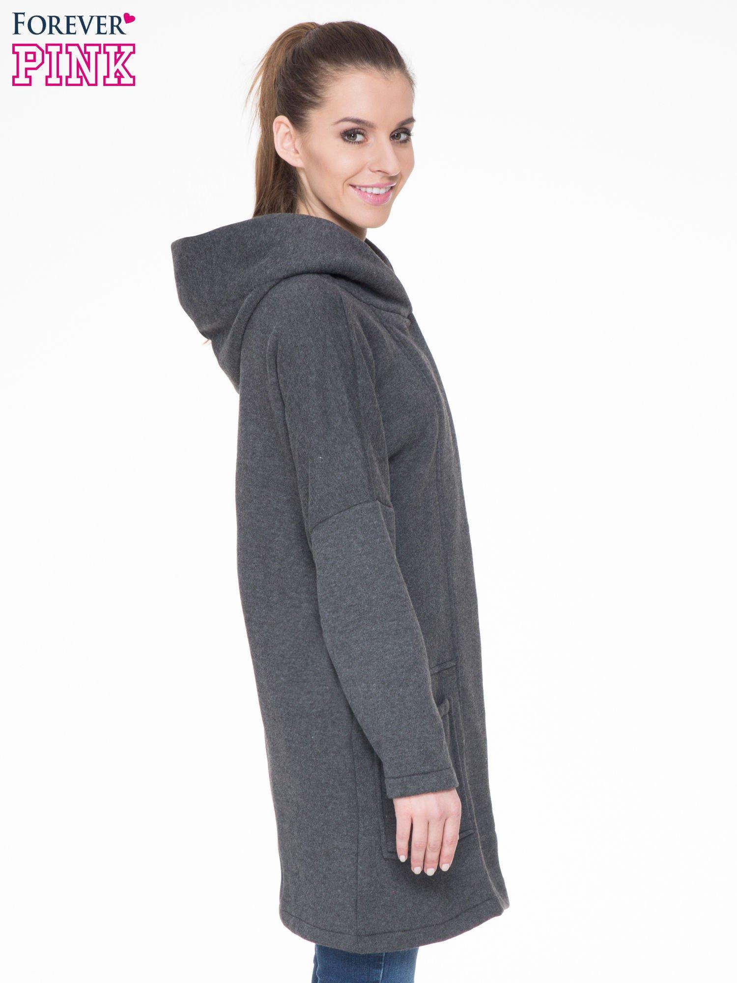 Ciemnoszary dresowy płaszcz z kapturem i kieszeniami                                  zdj.                                  3