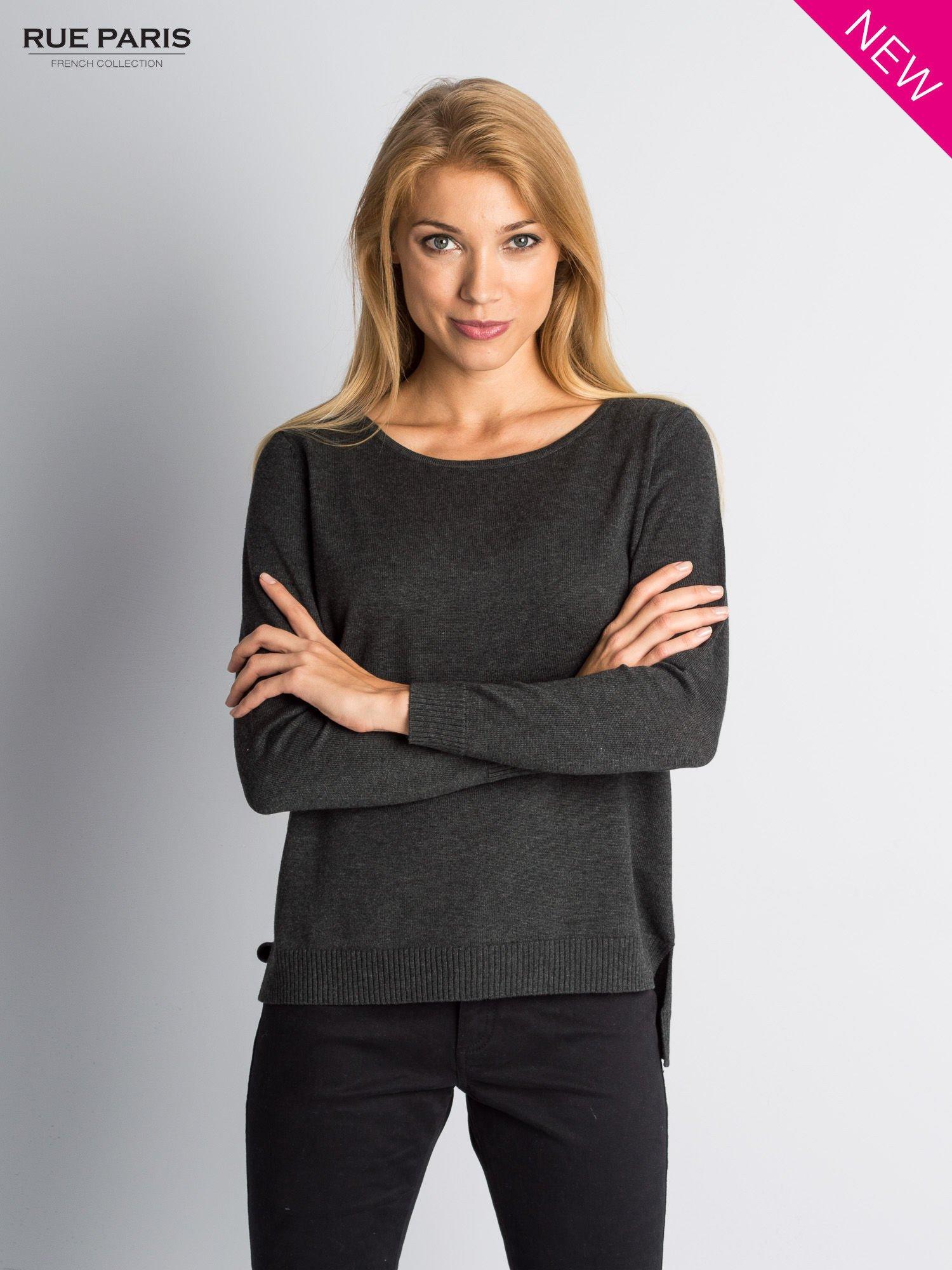 Ciemnoszary sweter z rozporkami i dłuższym tyłem                                  zdj.                                  1