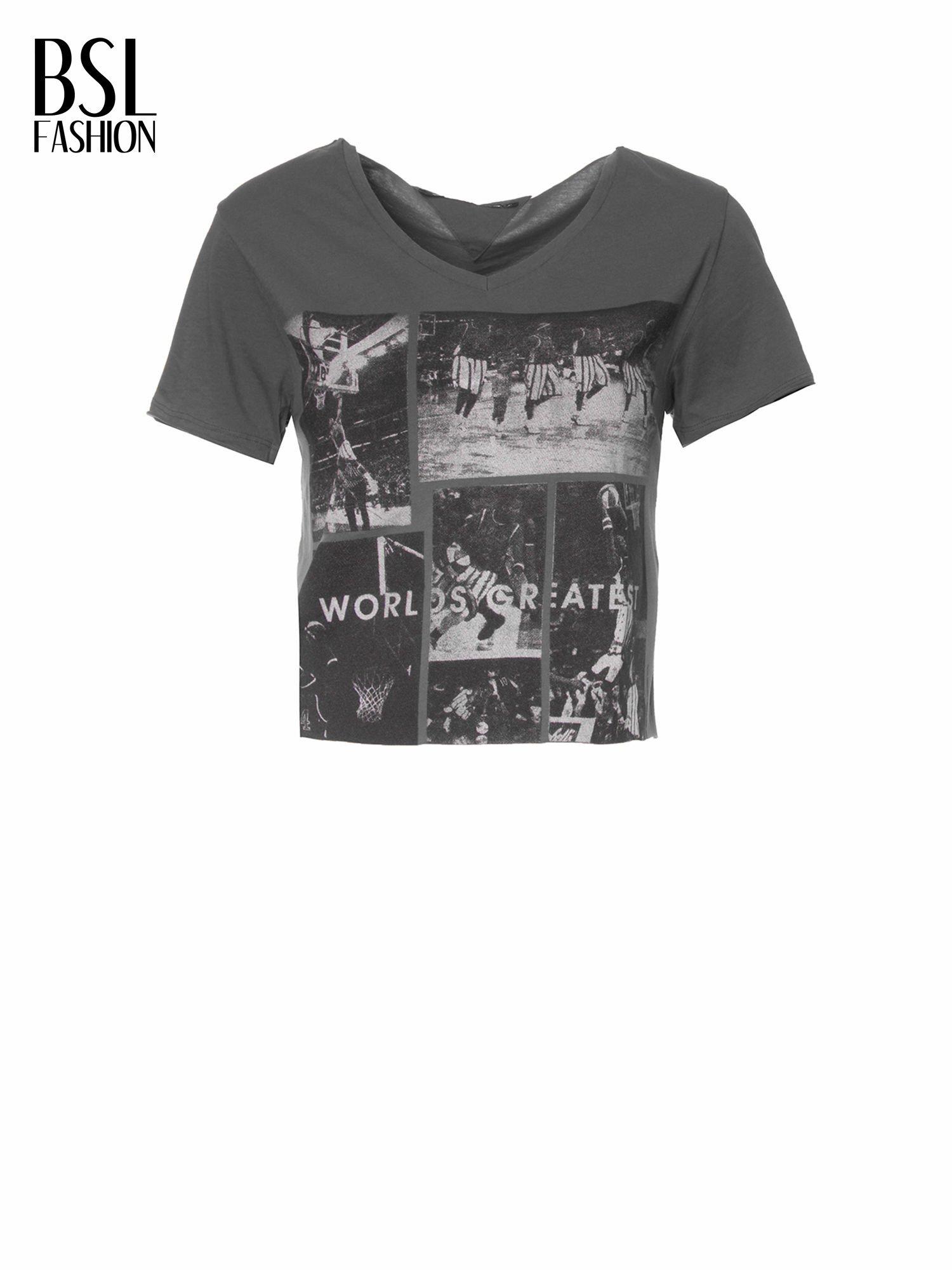 Ciemnoszary t-shirt cropped z nadrukiem basketball                                  zdj.                                  2