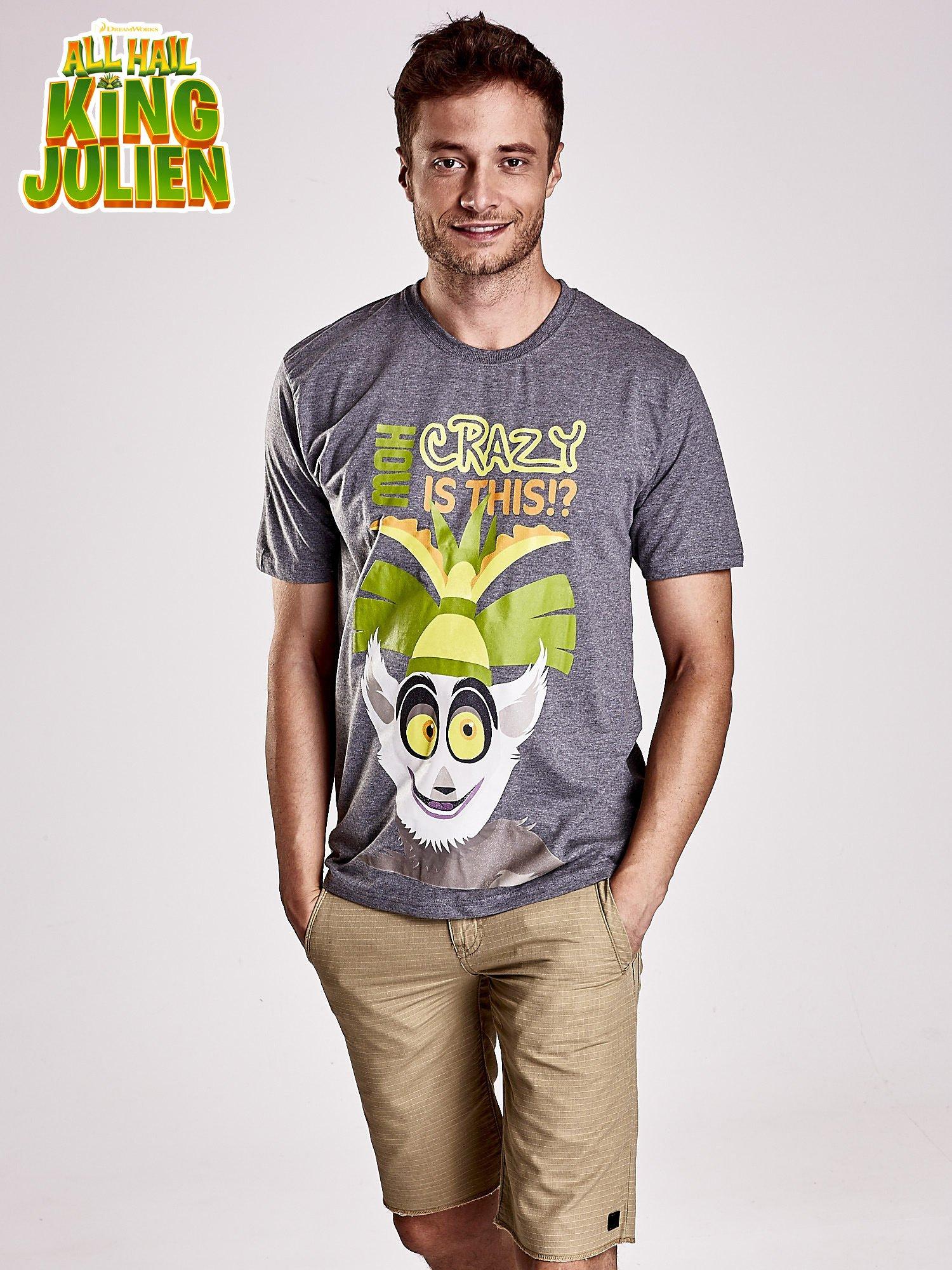 Ciemnoszary t-shirt męski KRÓL JULIAN                                  zdj.                                  1