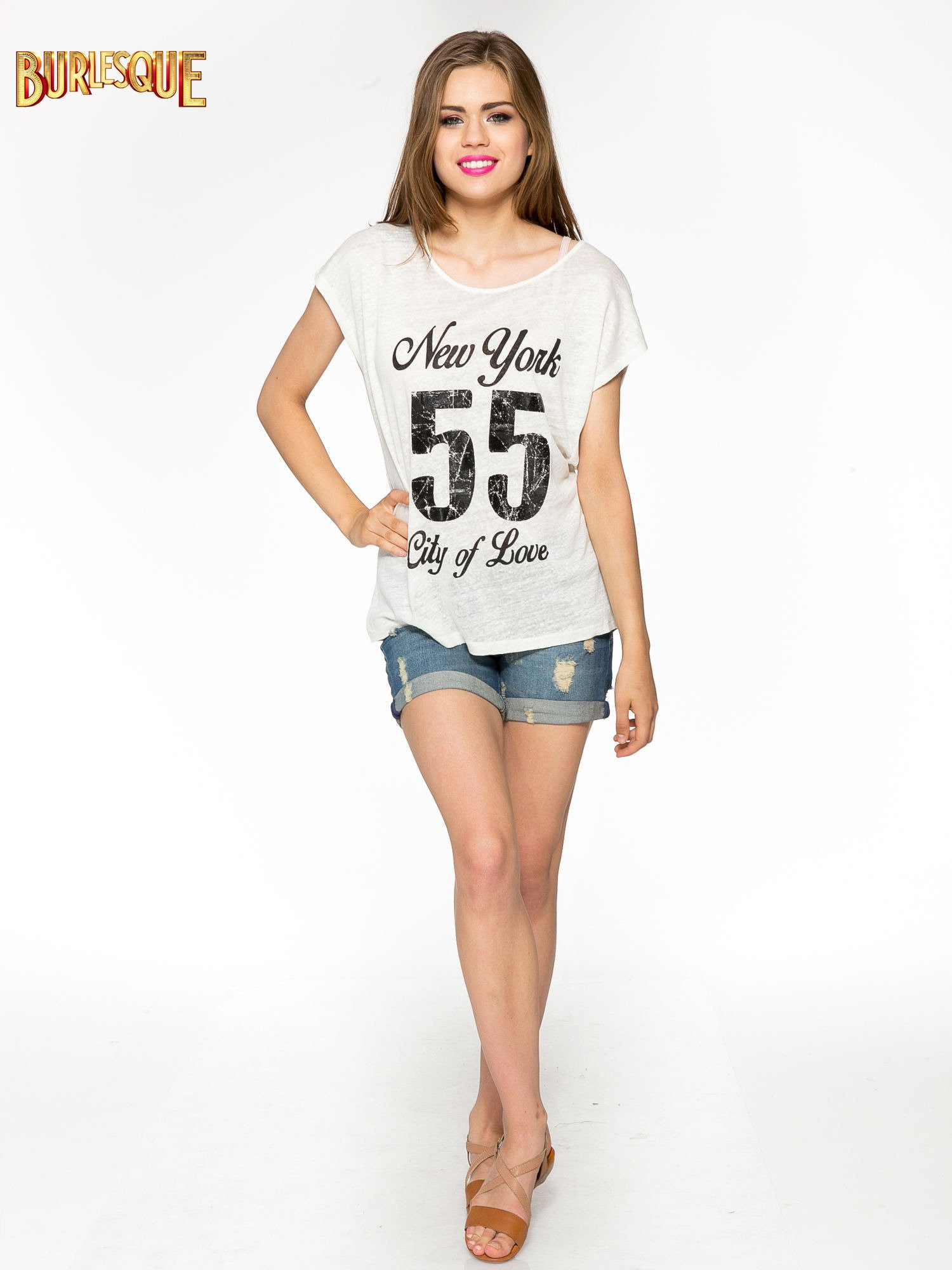 Ciemnyecru t-shirt z napisem NEW YORK CITY OF LOVE 55                                  zdj.                                  2