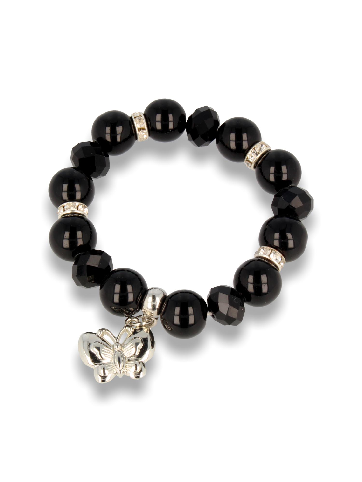 Czarna Bransoletka koralikowa z zawieszką w kształcie motylka                                  zdj.                                  1