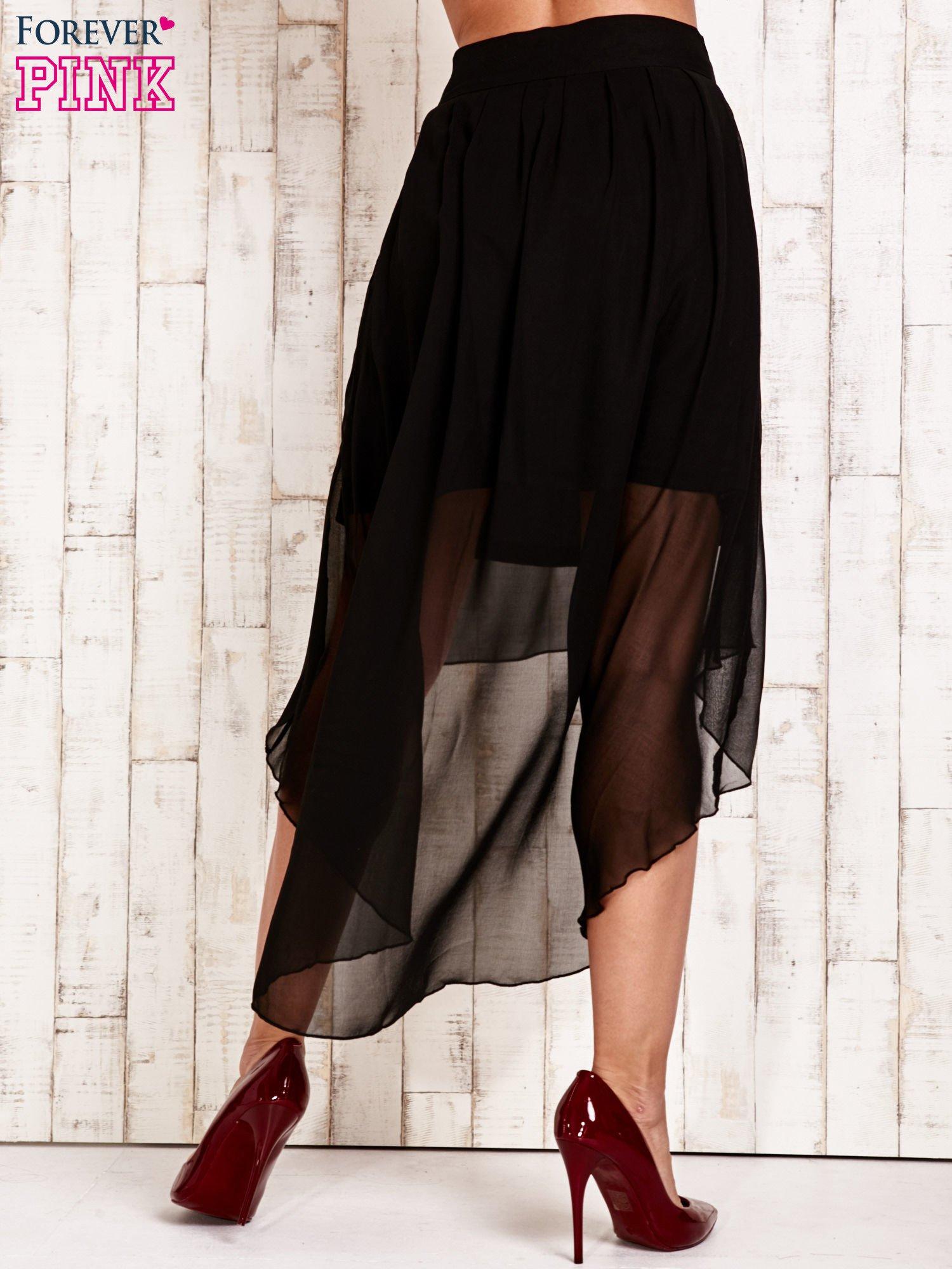 Czarna asymetryczna spódnica z suwakami                                  zdj.                                  3