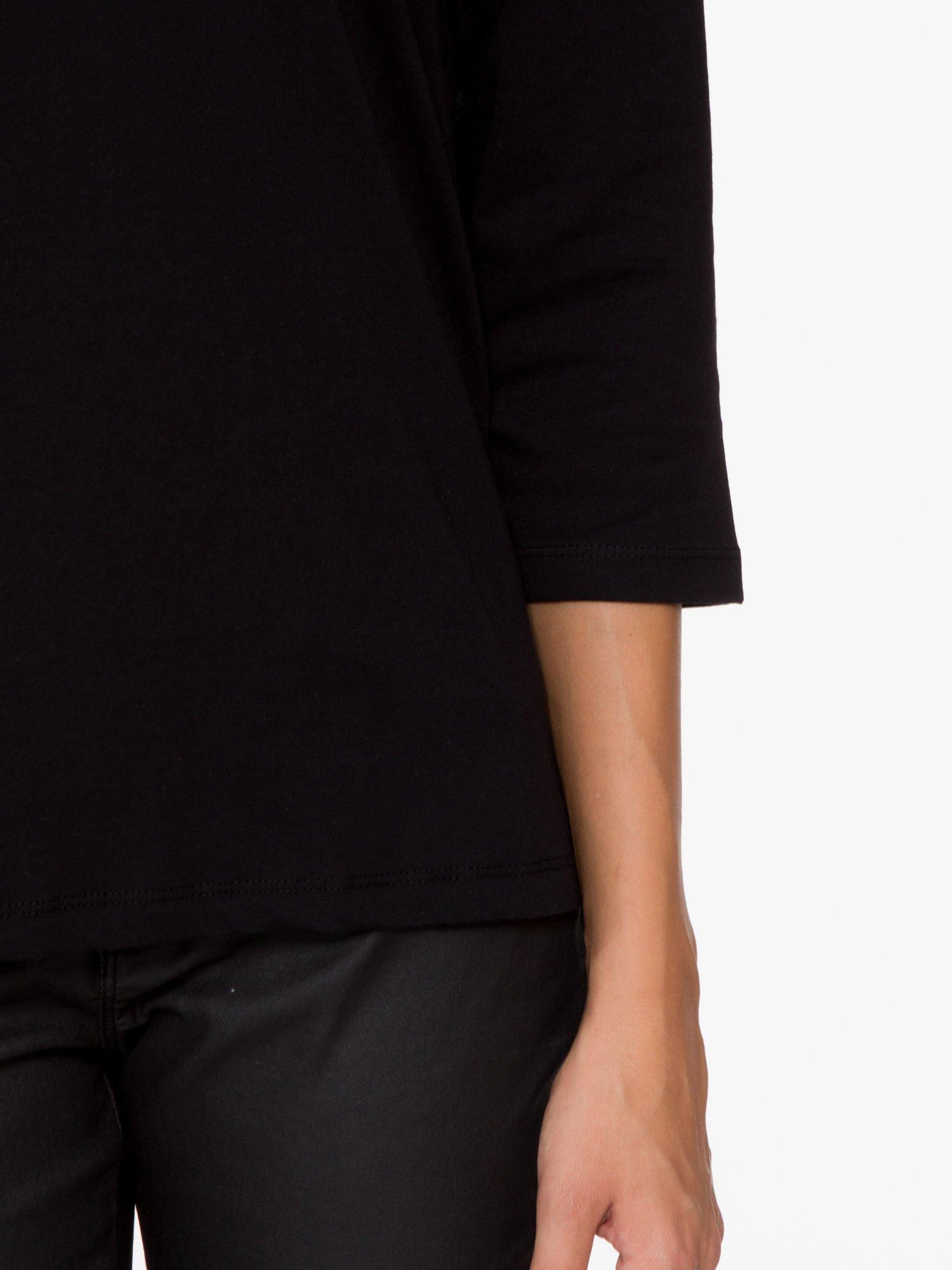 Czarna basicowa bluzka z rękawem 3/4                                  zdj.                                  7