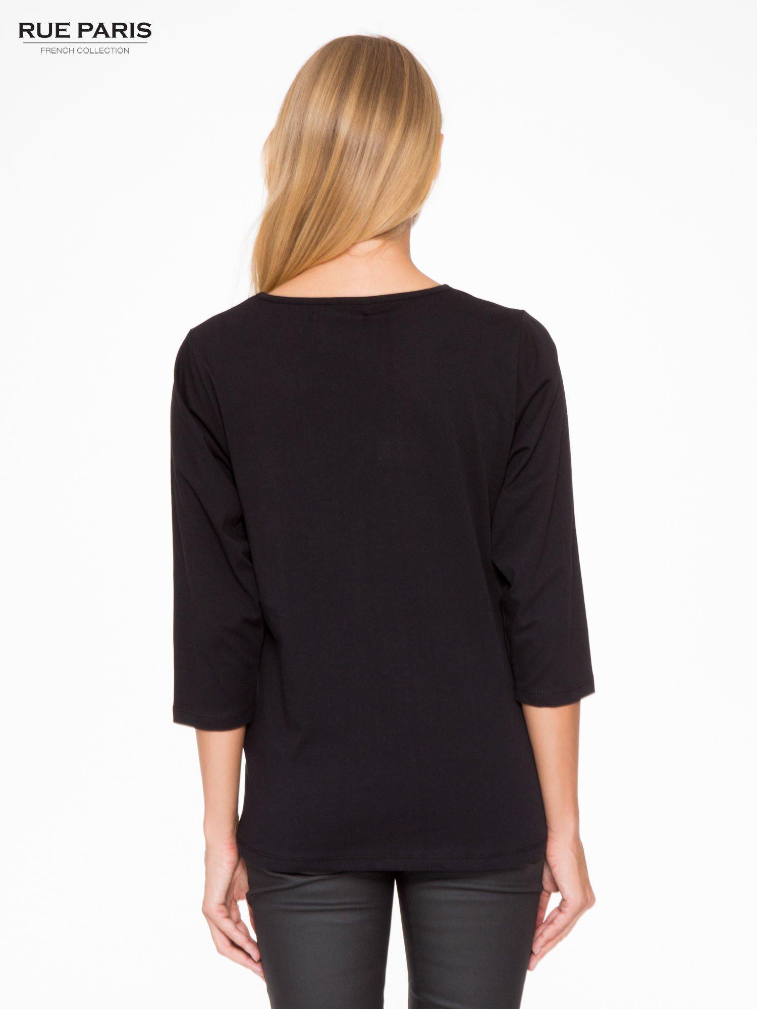 Czarna basicowa bluzka z rękawem 3/4                                  zdj.                                  4