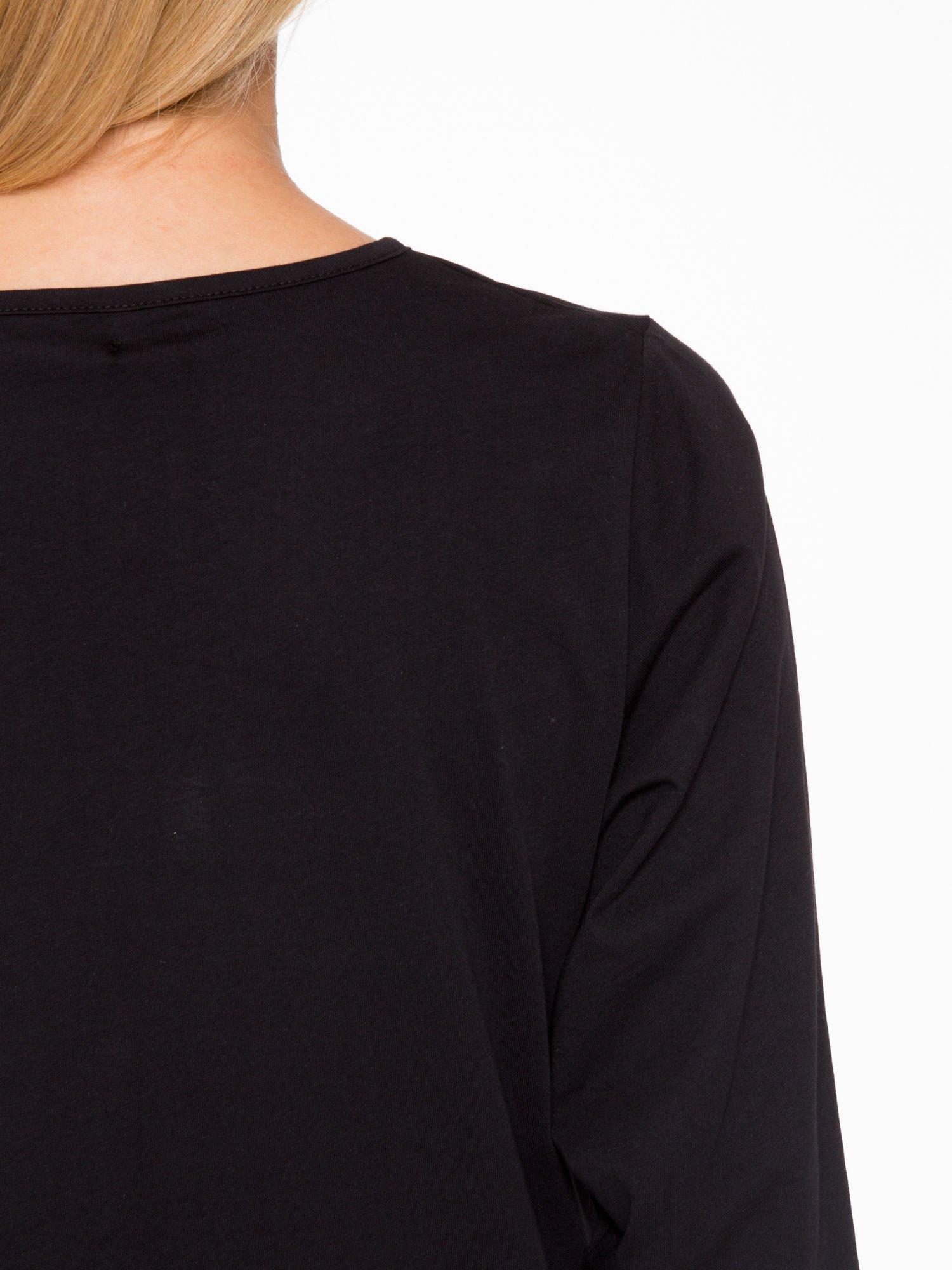 Czarna basicowa bluzka z rękawem 3/4                                  zdj.                                  8