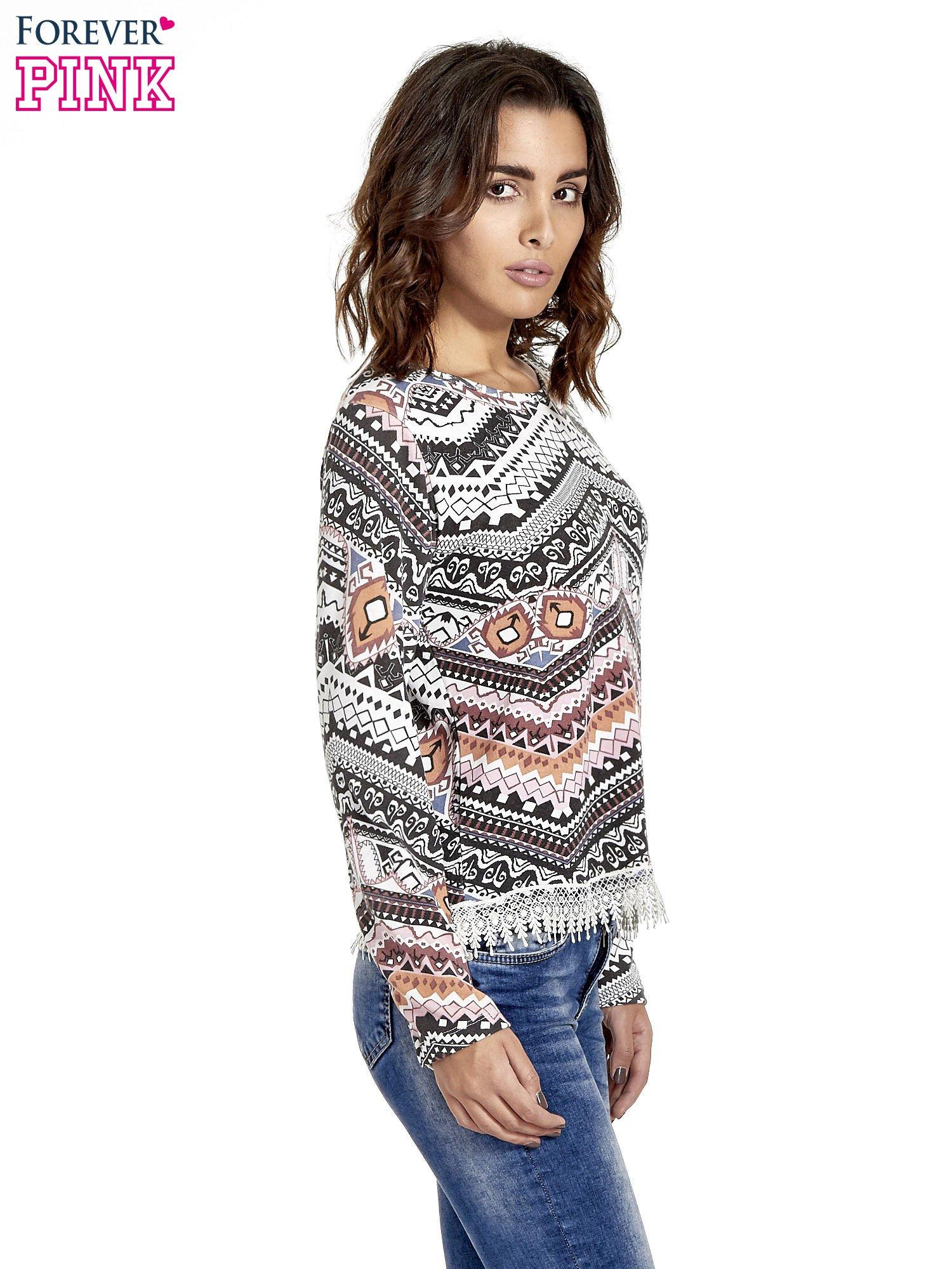 Czarna bluza w azteckie wzory z koronką                                  zdj.                                  3