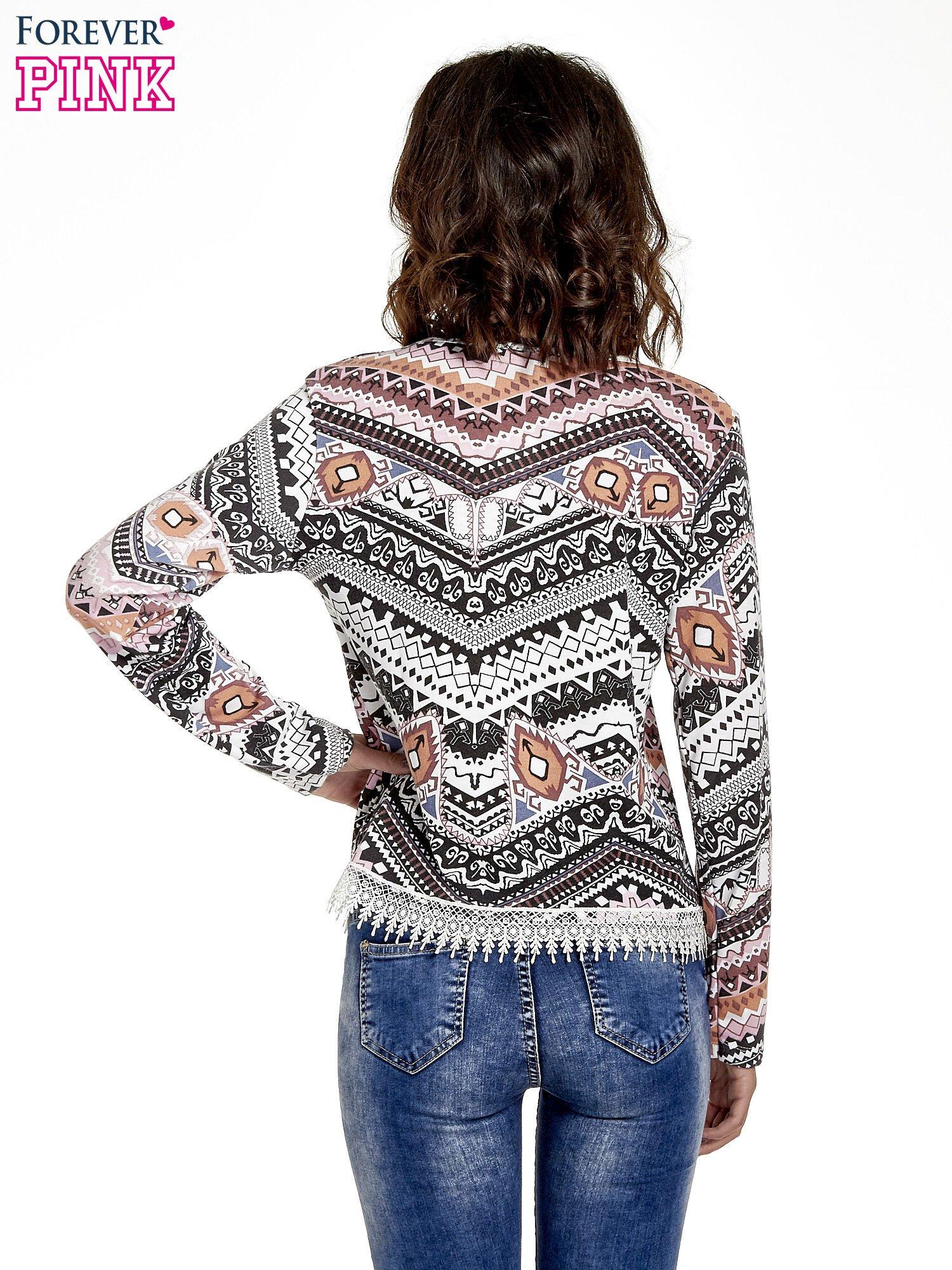 Czarna bluza w azteckie wzory z koronką                                  zdj.                                  4