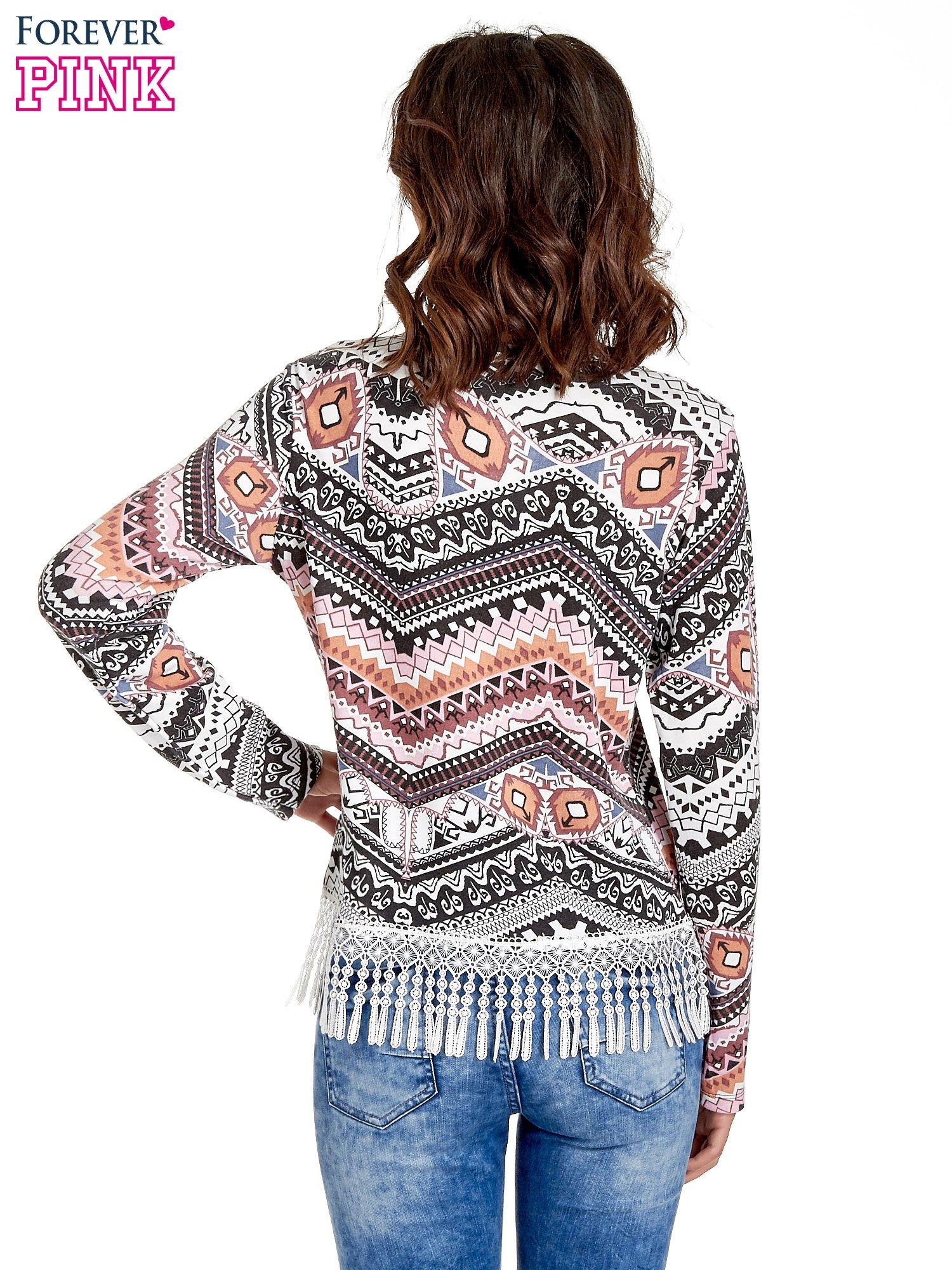 Czarna bluza w azteckie wzory z koronką z frędzlami                                  zdj.                                  4