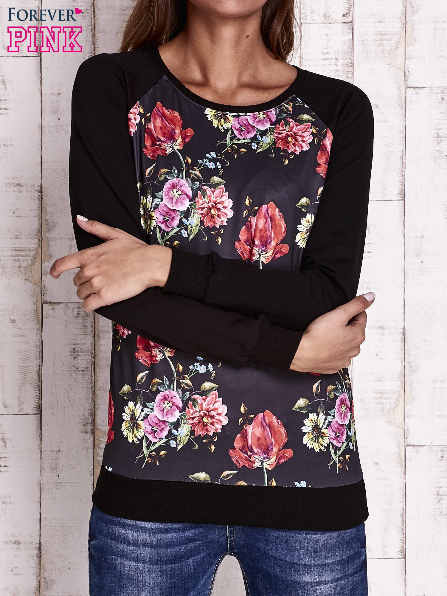 Czarna bluza w kwiaty                                  zdj.                                  1
