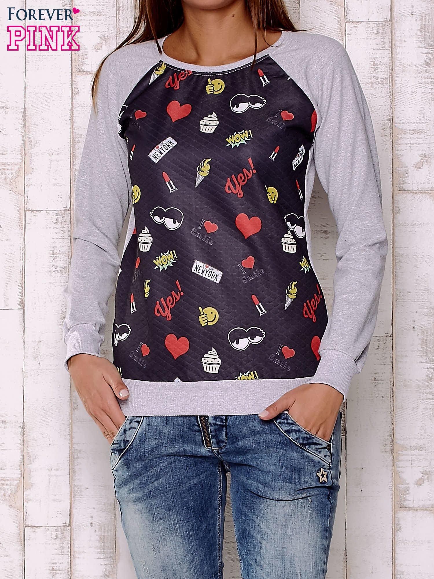 Czarna bluza z motywami komiksowymi                                  zdj.                                  1
