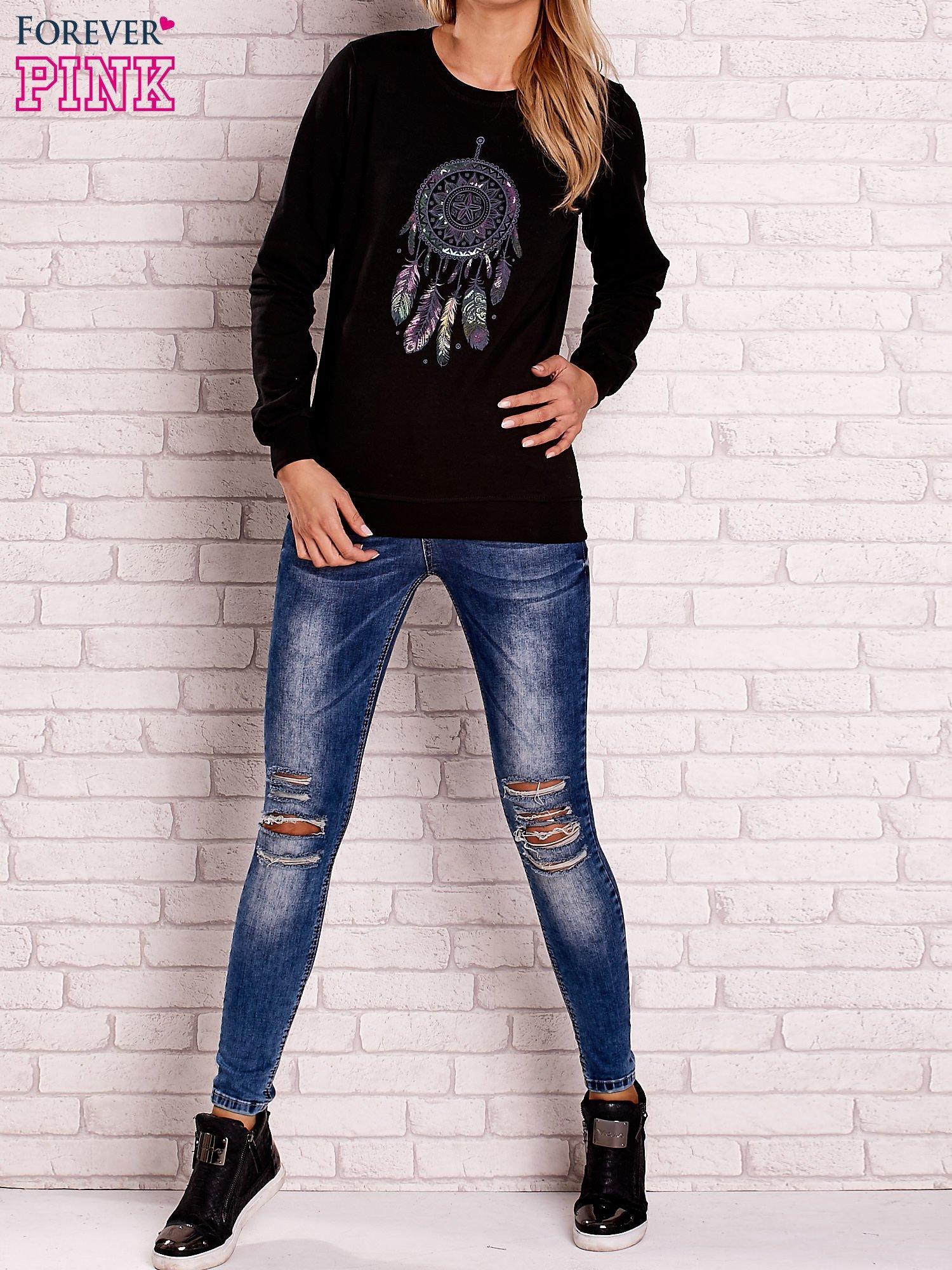 Czarna bluza z nadrukiem łapacza snów                                  zdj.                                  3