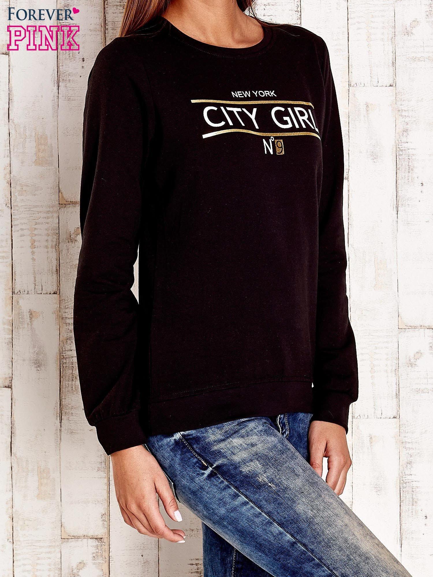 Czarna bluza z napisem CITY GIRL                                  zdj.                                  4