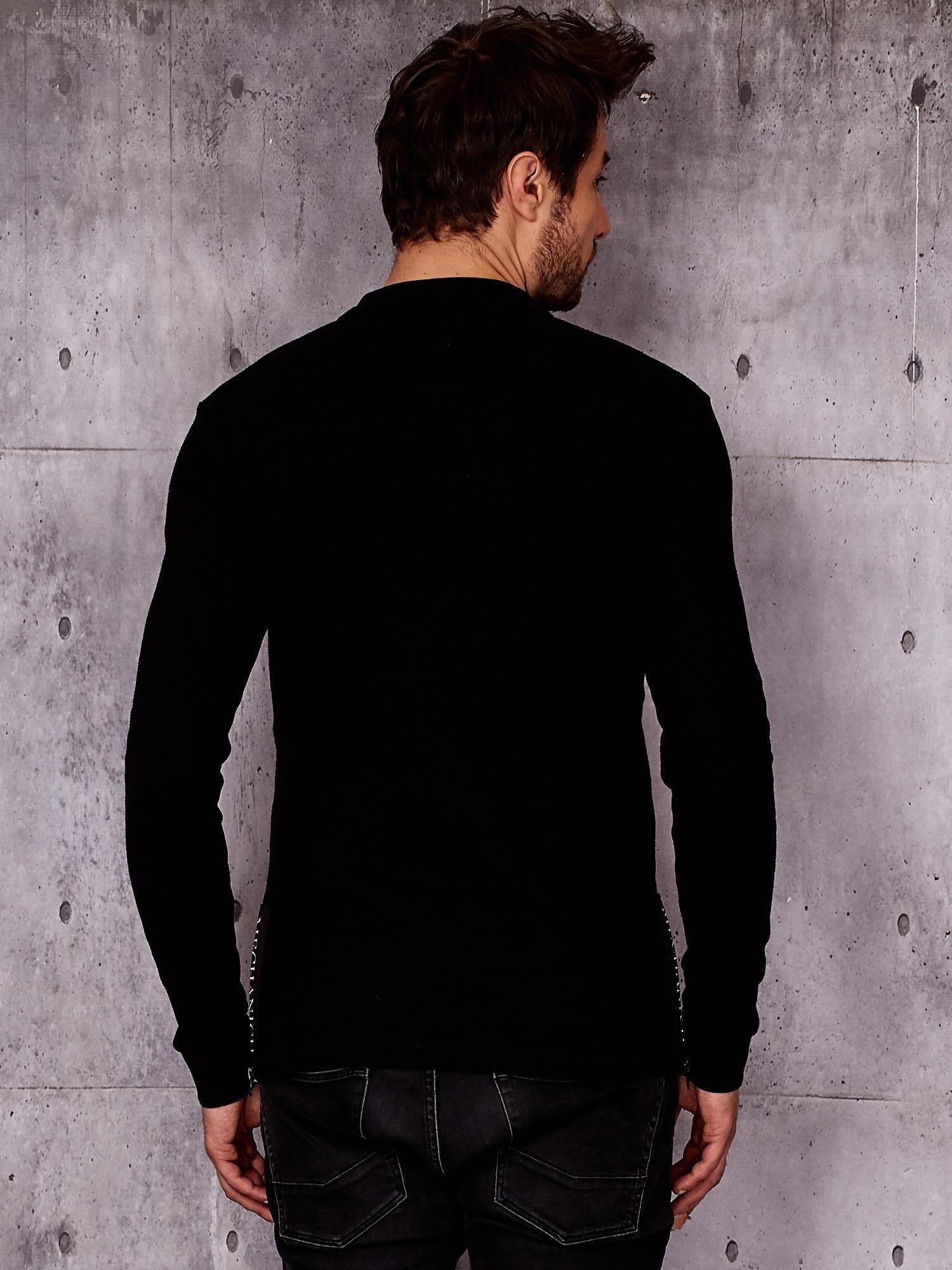 9341892663dd Czarna bluzka męska z kołnierzykiem i mankietami - Mężczyźni bluzka ...