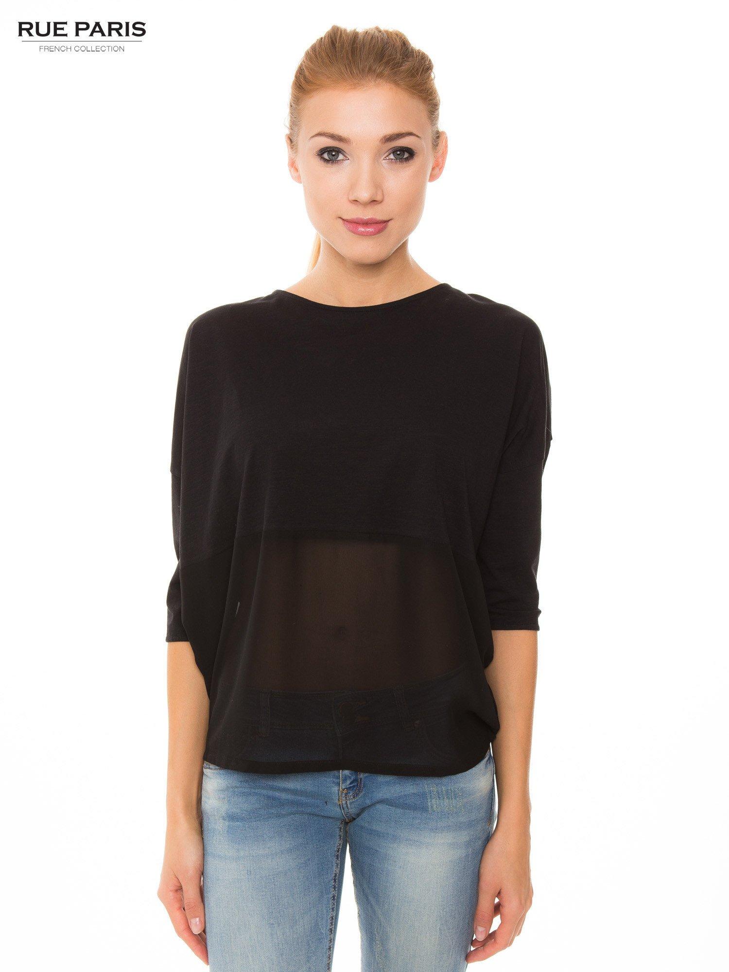 Czarna bluzka oversize z siateczkowym dołem                                  zdj.                                  1