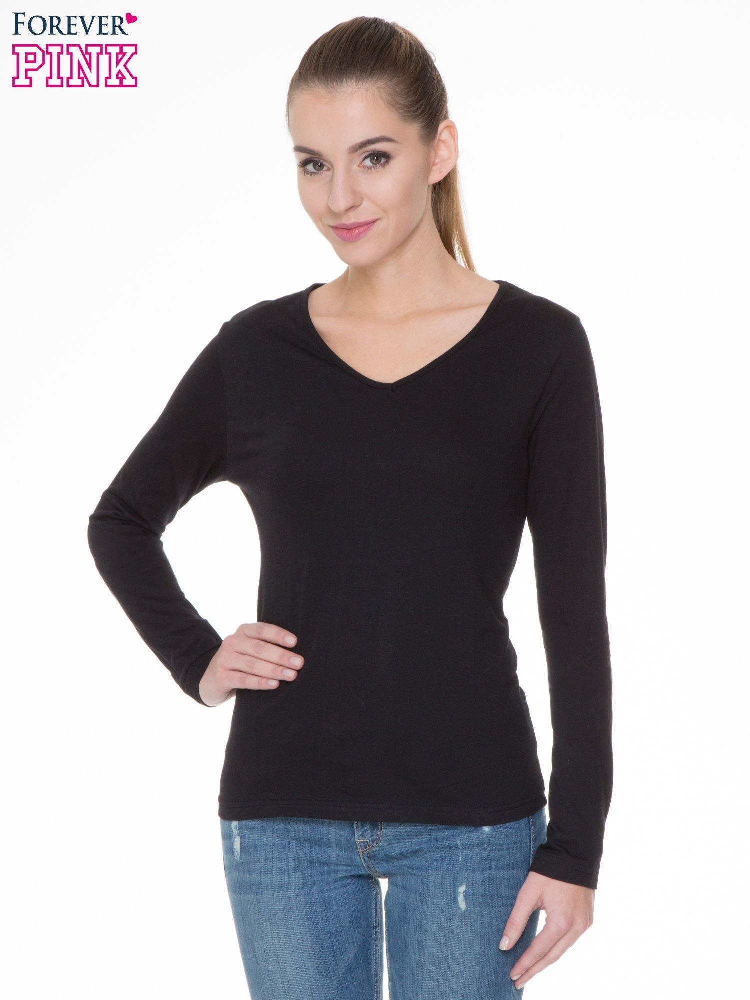 Czarna bluzka z długim rękawem z bawełny                                  zdj.                                  1