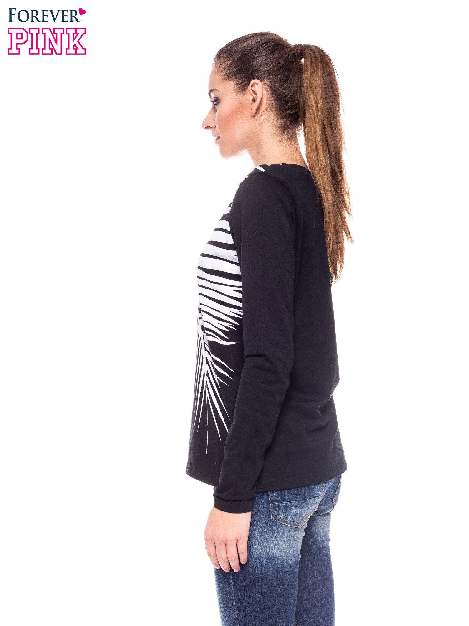 Czarna bluzka z egzotycznym liściem i zamkiem z tyłu                                  zdj.                                  2