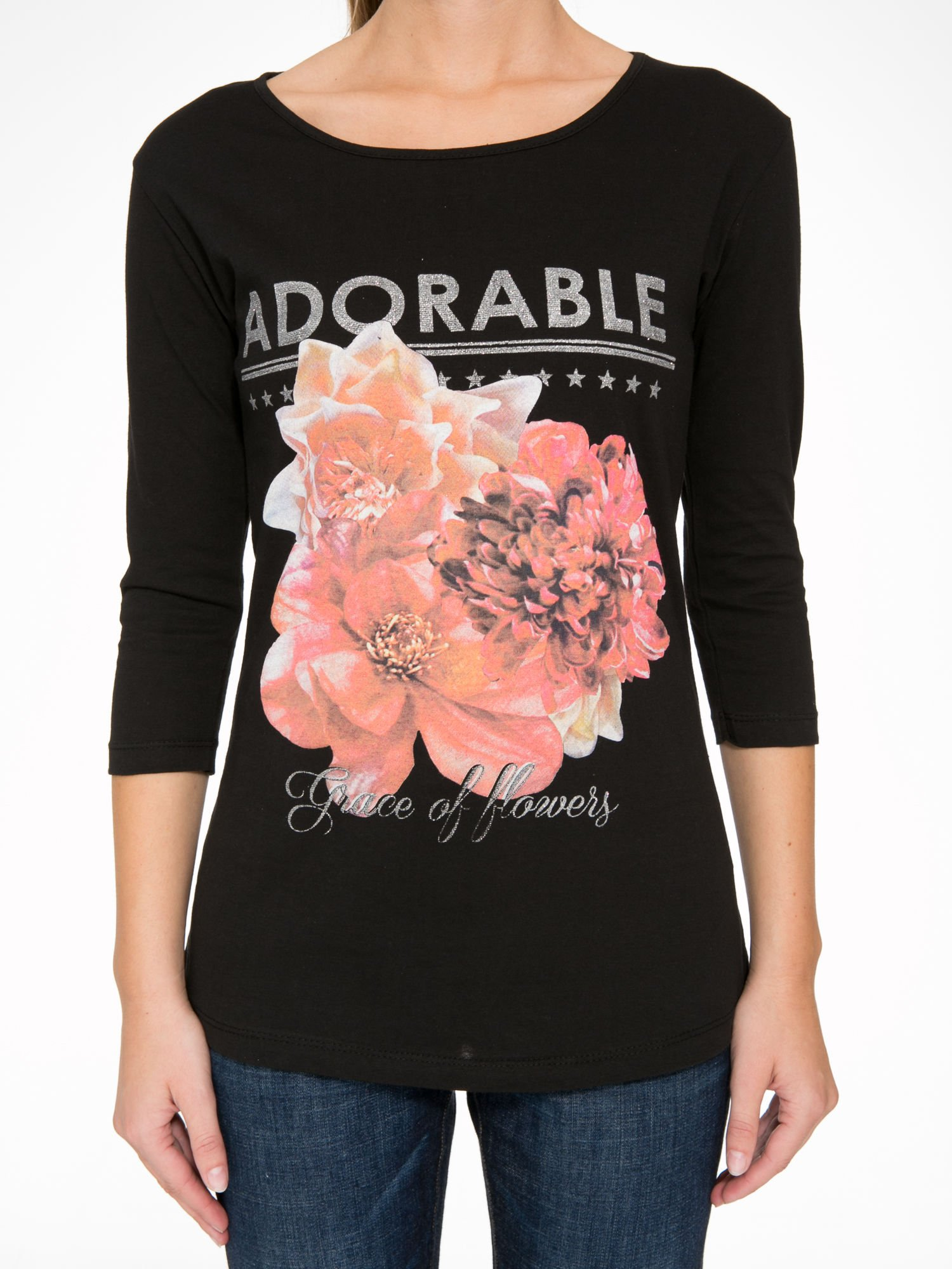 Czarna bluzka z motywem kwiatowym i napisem ADORABLE                                  zdj.                                  8