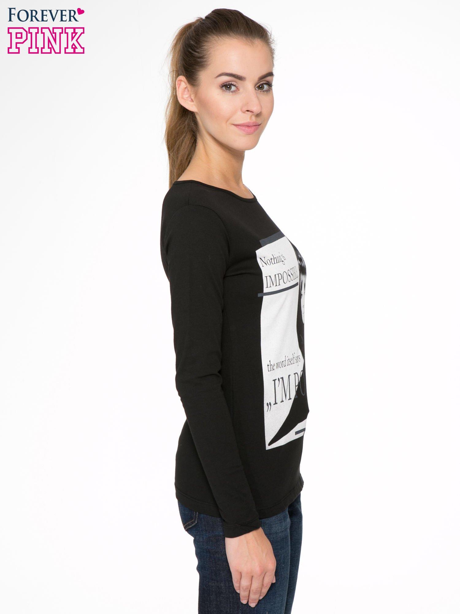 Czarna bluzka z nadrukiem Audrey Hepburn                                  zdj.                                  3