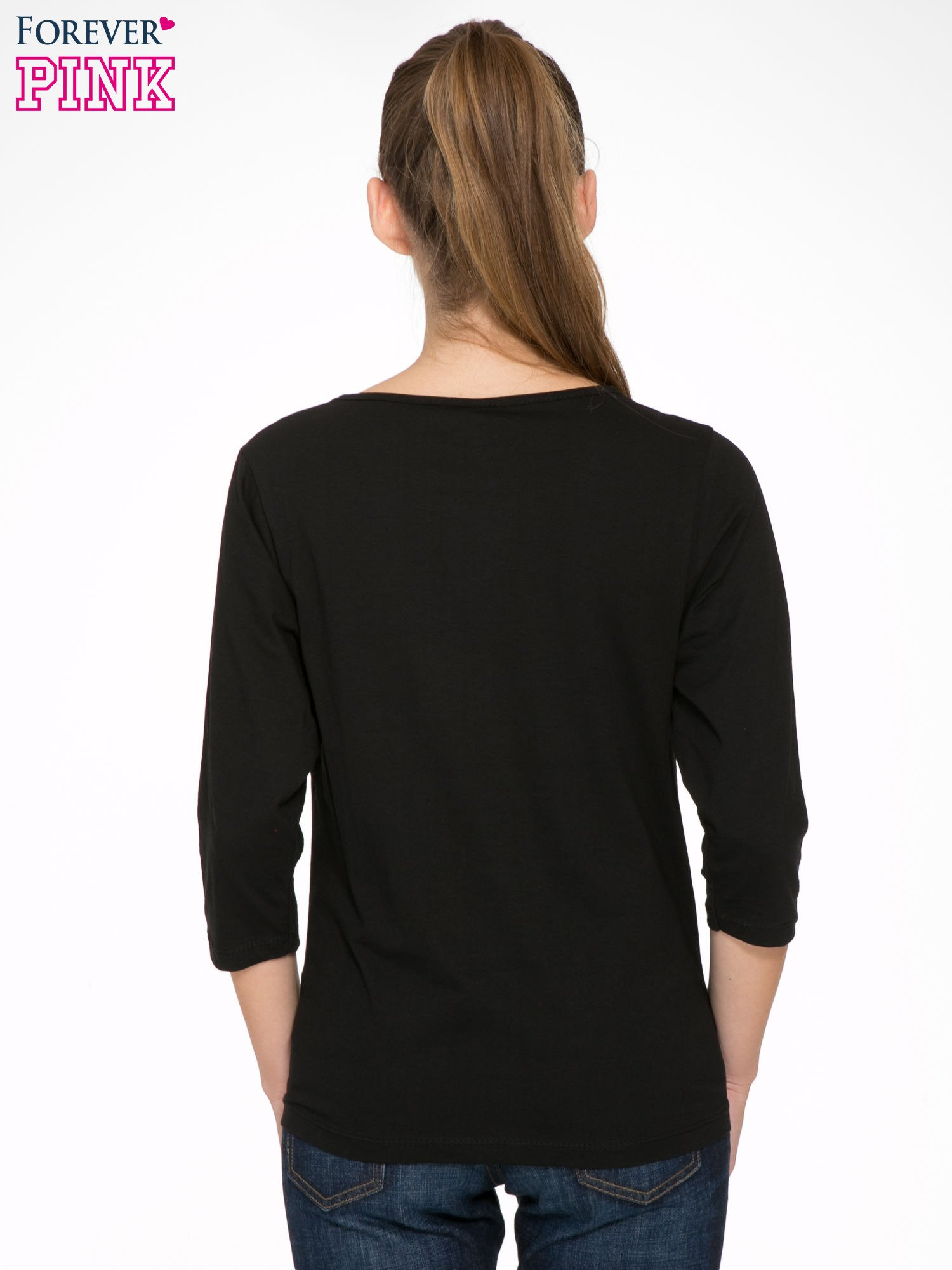 Czarna bluzka z nadrukiem kotka i napisem JUST WANNA HAVE FUN?                                  zdj.                                  4