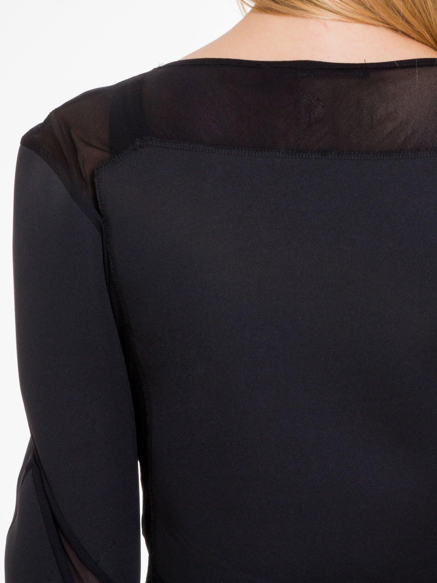Czarna bluzka z neoprenu z tiulowymi wstawkami                                  zdj.                                  8