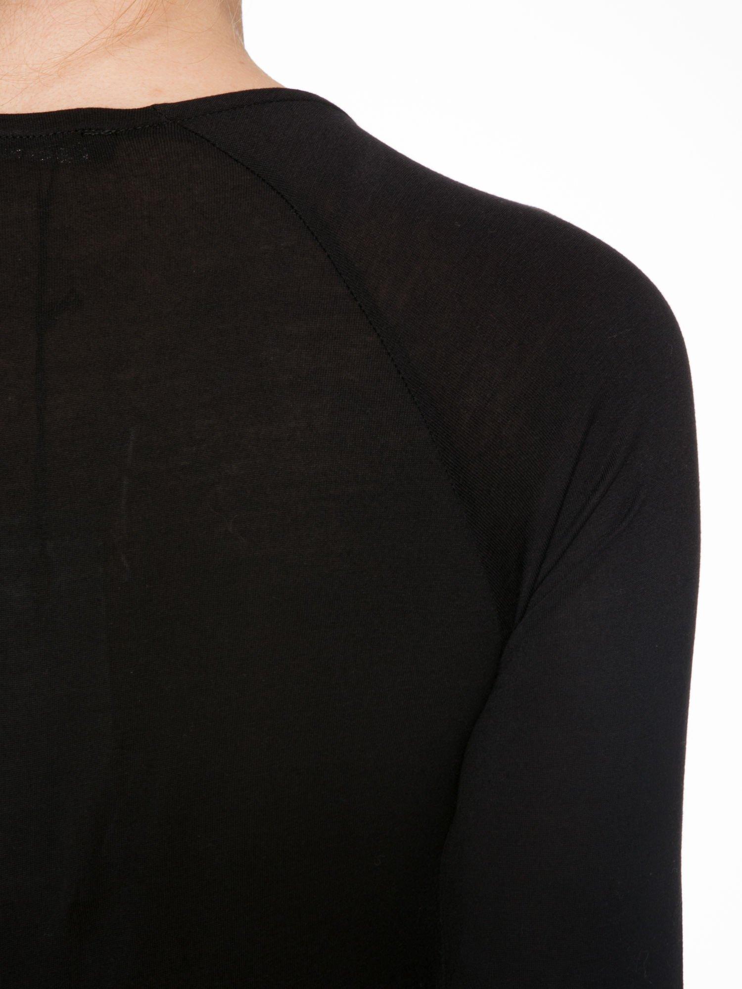 Czarna bluzka z przodem z ekoskóry                                  zdj.                                  8
