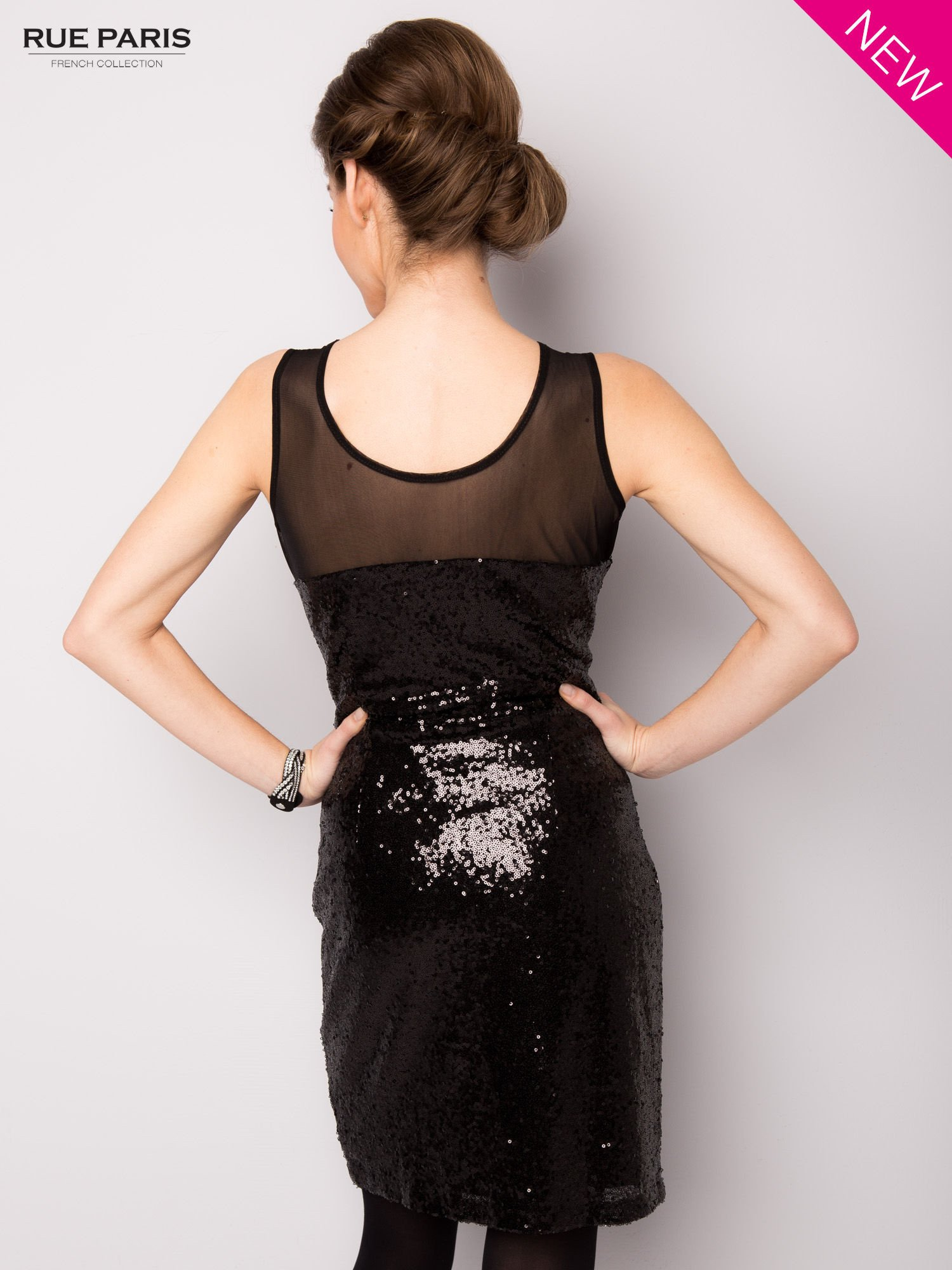 Czarna cekinowa sukienka z transparentną górą                                  zdj.                                  3